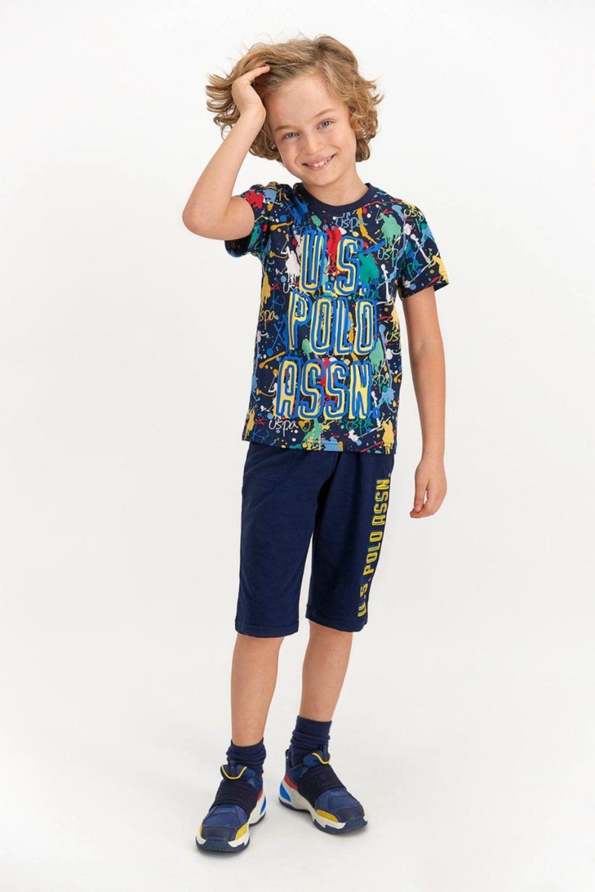 4-8 Yaş Us Polo ASSN Lisanslı Boya Desenli Laci Erkek Çocuk Takım