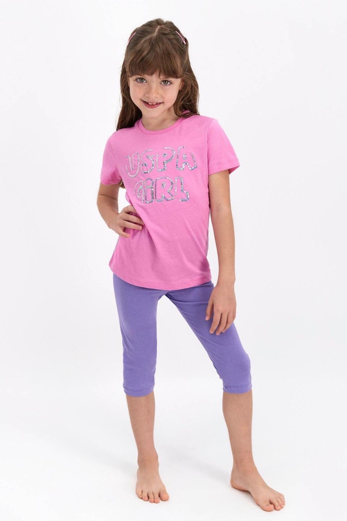 4-8 Yaş Us Polo ASSN Lisanslı Payetli Pembe Kız Çocuk Takım