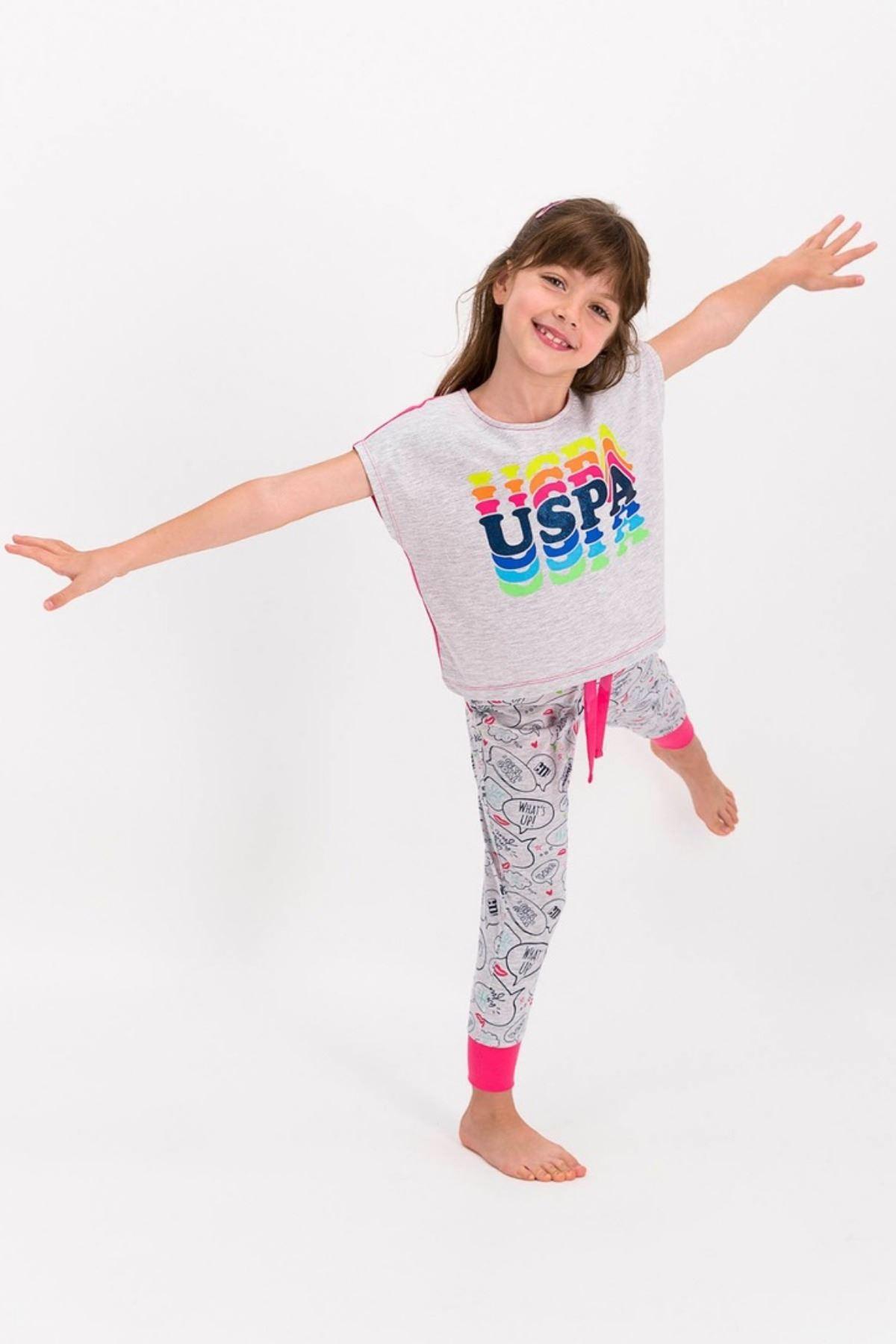 4-8 Yaş Us Polo ASSN Lisanslı Hola Gri Kız Çocuk Takım