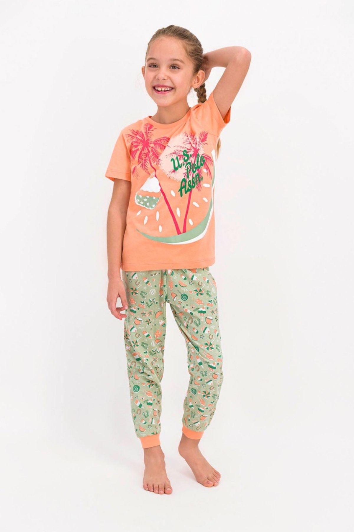 4-8 Yaş Us Polo ASSN Lisanslı Cake Turuncu Kız Pijama Takım