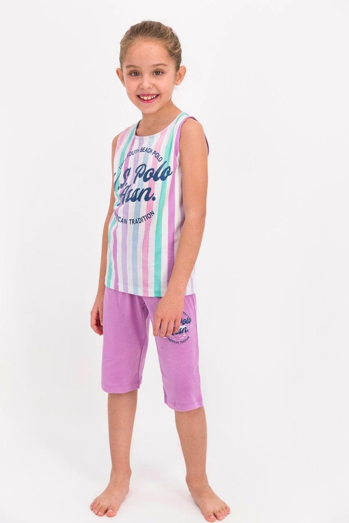 4-8 Yaş Us Polo ASSN Lisanslı Mor Şerit Kız Çocuk Takım