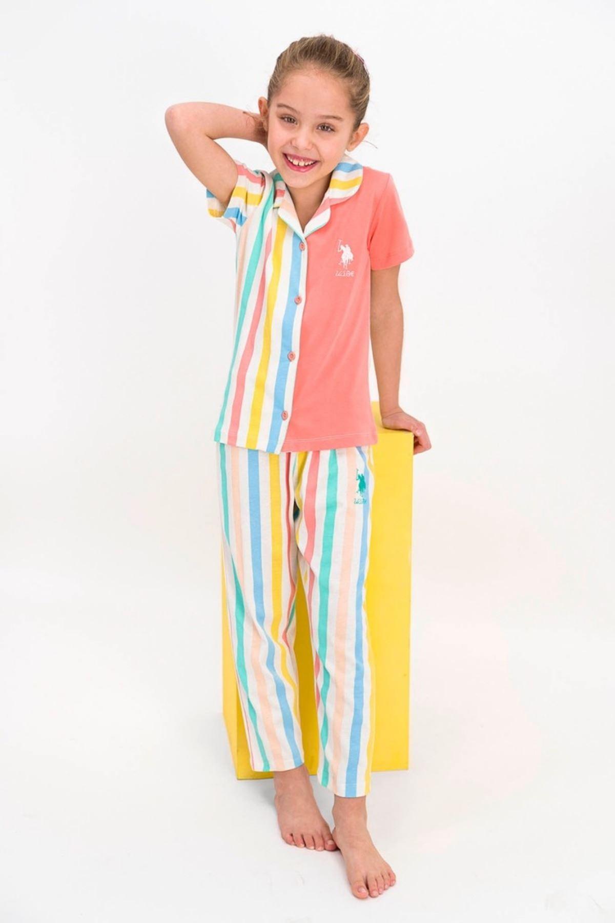 9-15 Yaş Us Polo ASSN Lisanslı Turuncu Şerit Kız Çocuk Pijama Takım