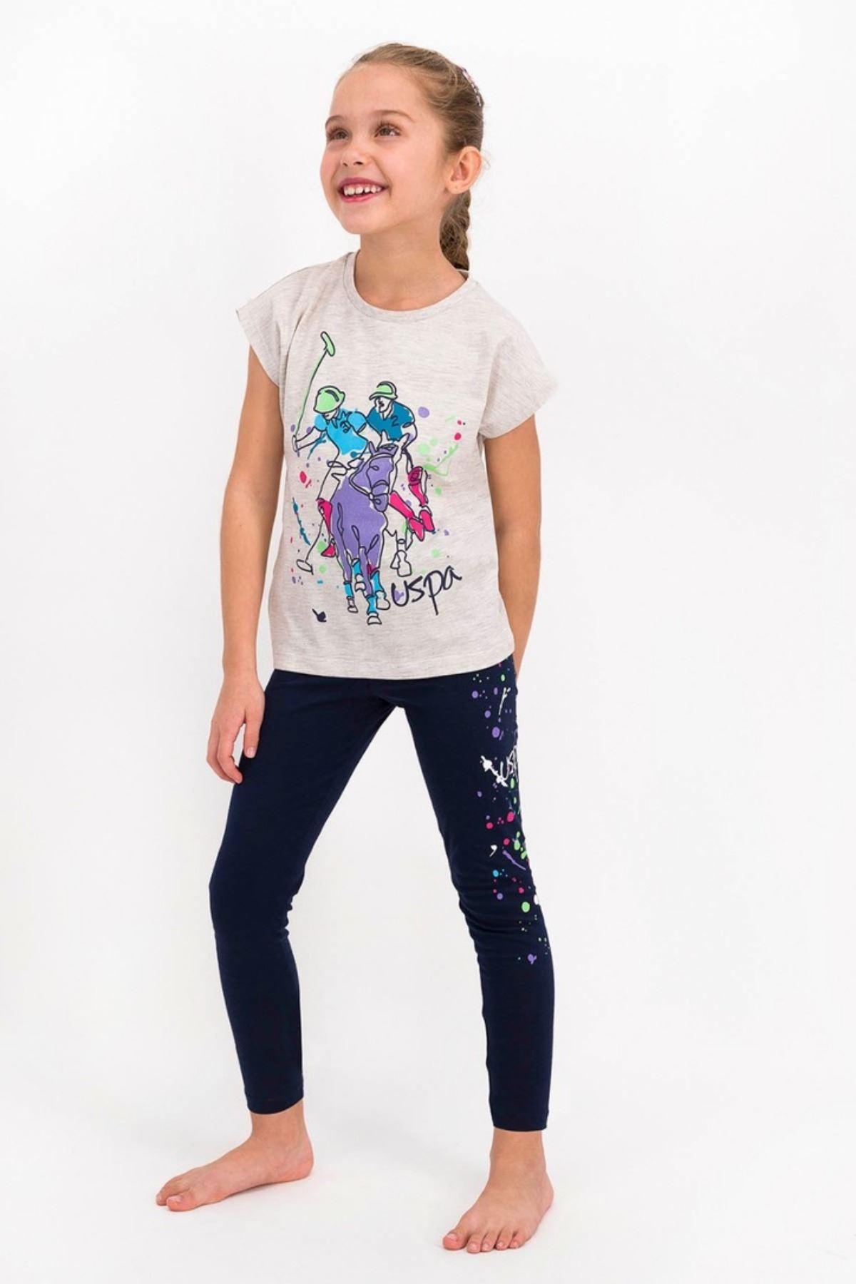 9-15 Yaş Us Polo ASSN Lisanslı Paint Gri Kız Çocuk Takım