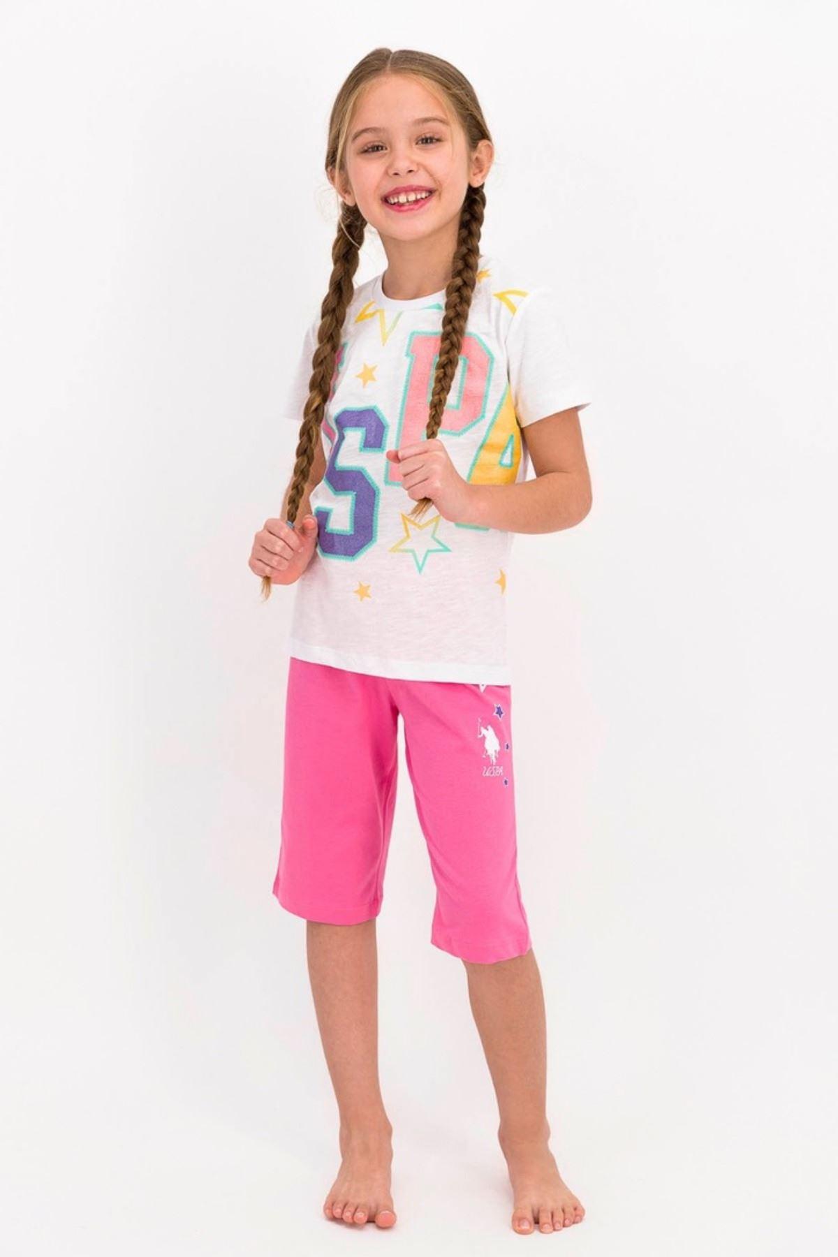 4-8 Yaş Us Polo ASSN Lisanslı Star Beyaz Kız Çocuk Takım