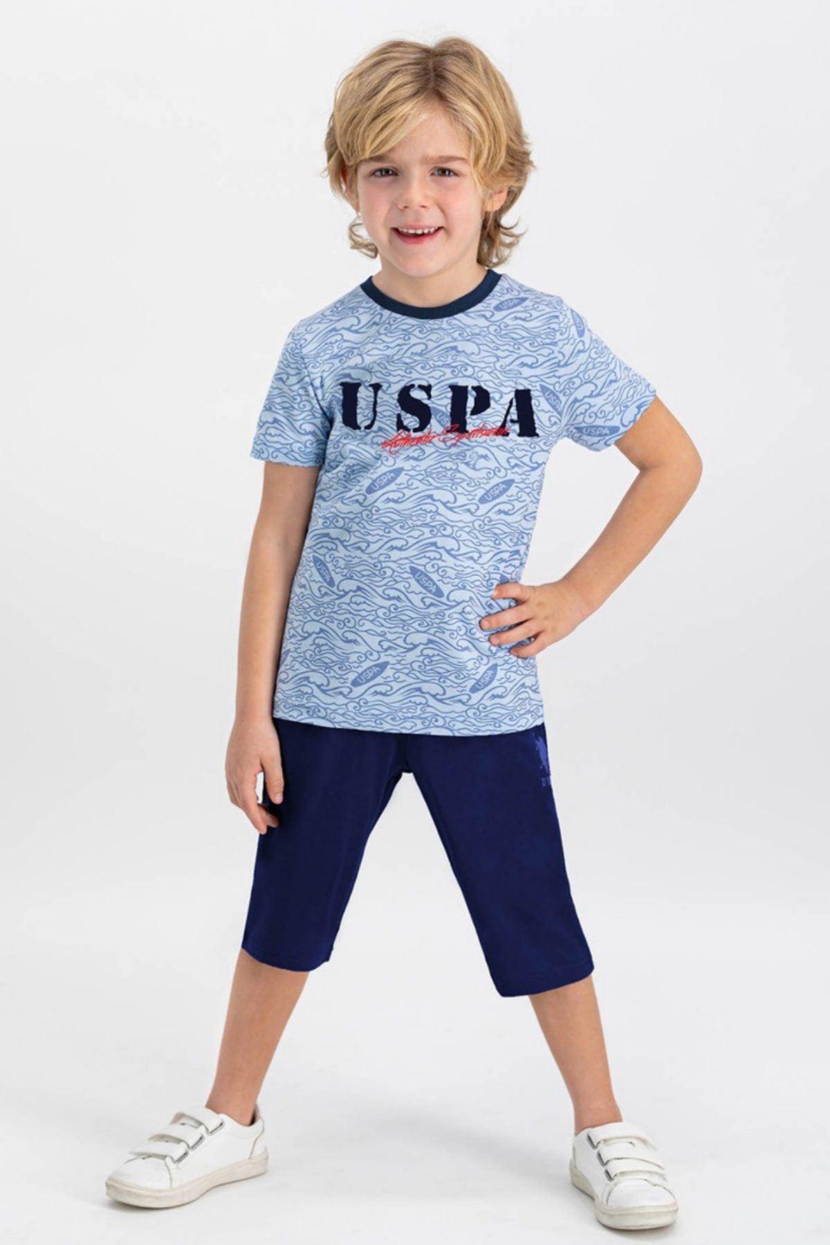 9-15 Yaş Us Polo ASSN Lisanslı Sportsweat Mavi Erkek Çocuk Takım