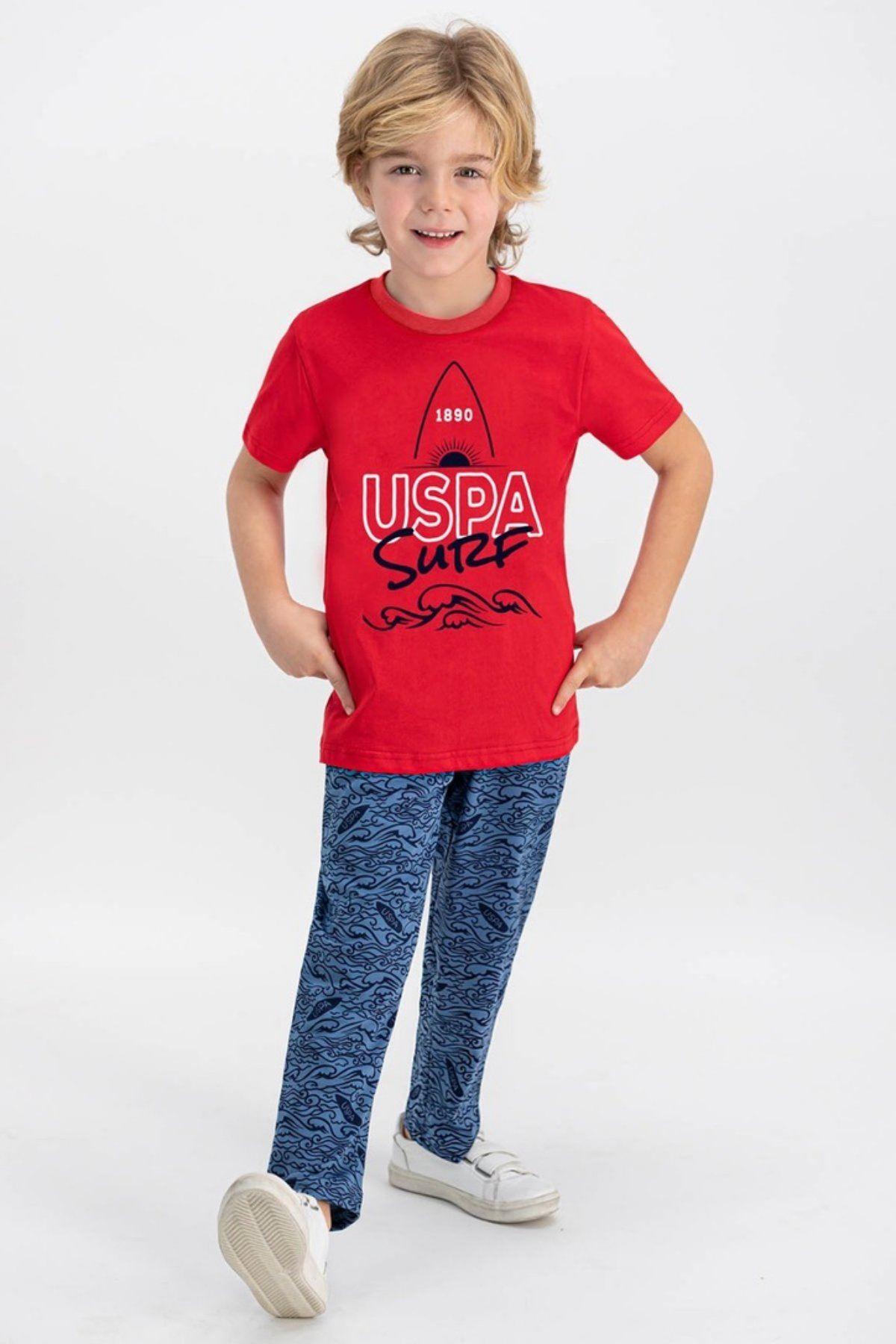 4-8 Us Polo ASSN Lisanslı Ocean Kırmızı Erkek Çocuk Takım