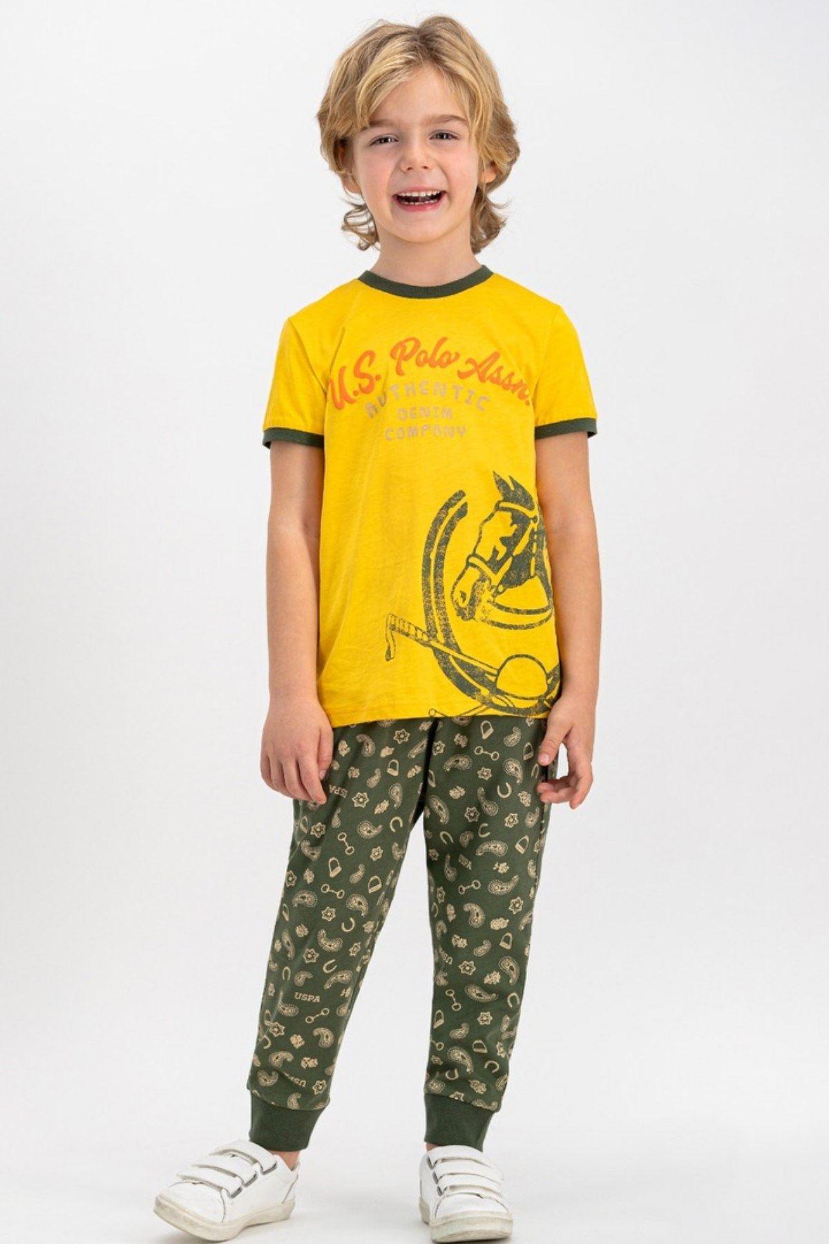 4-8 Yaş Us Polo ASSN Lisanslı Company Sarı Erkek Çocuk Takım
