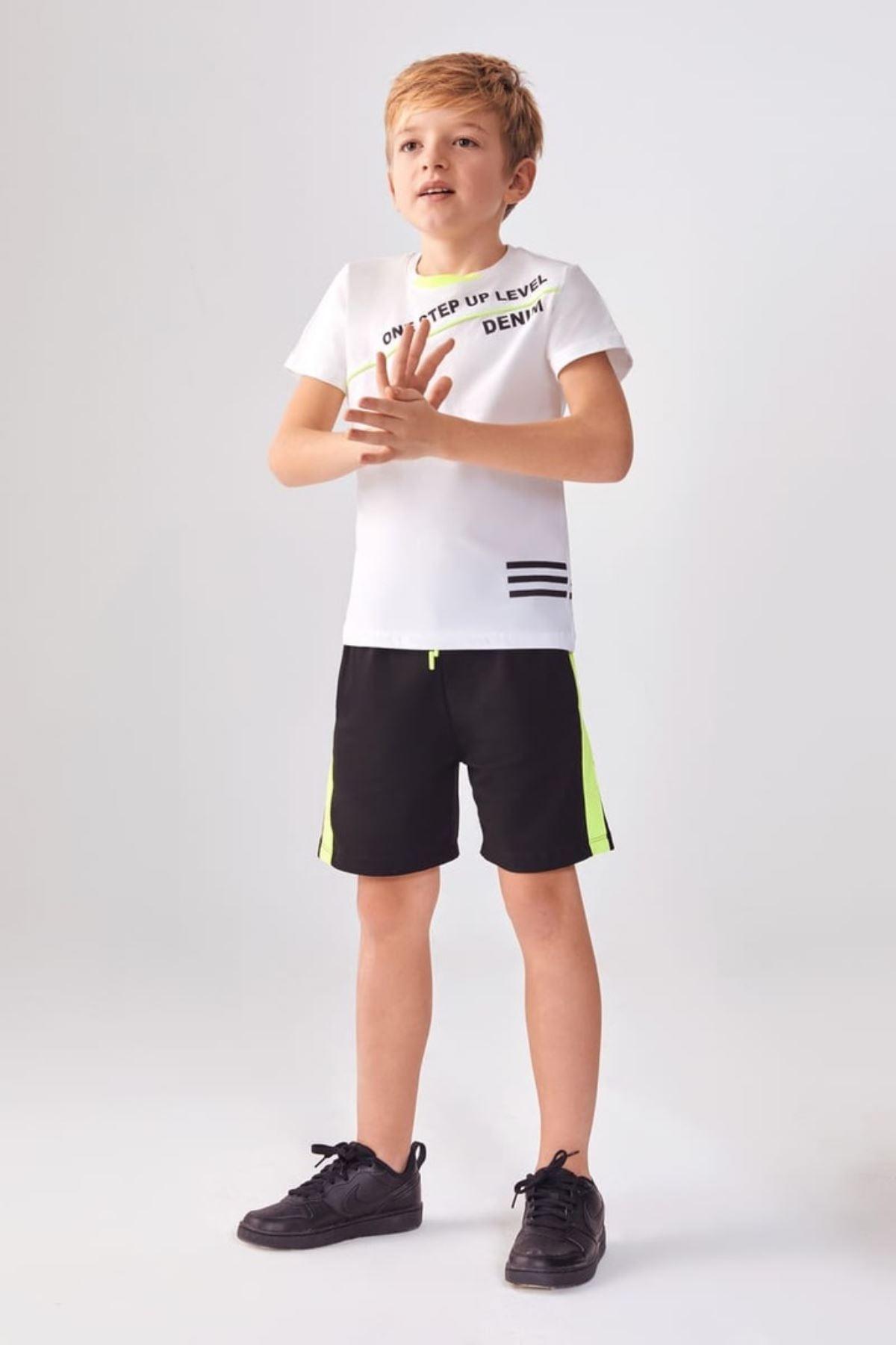 One Step Up Yeşil Şerit Erkek Şortlu Çocuk Takım