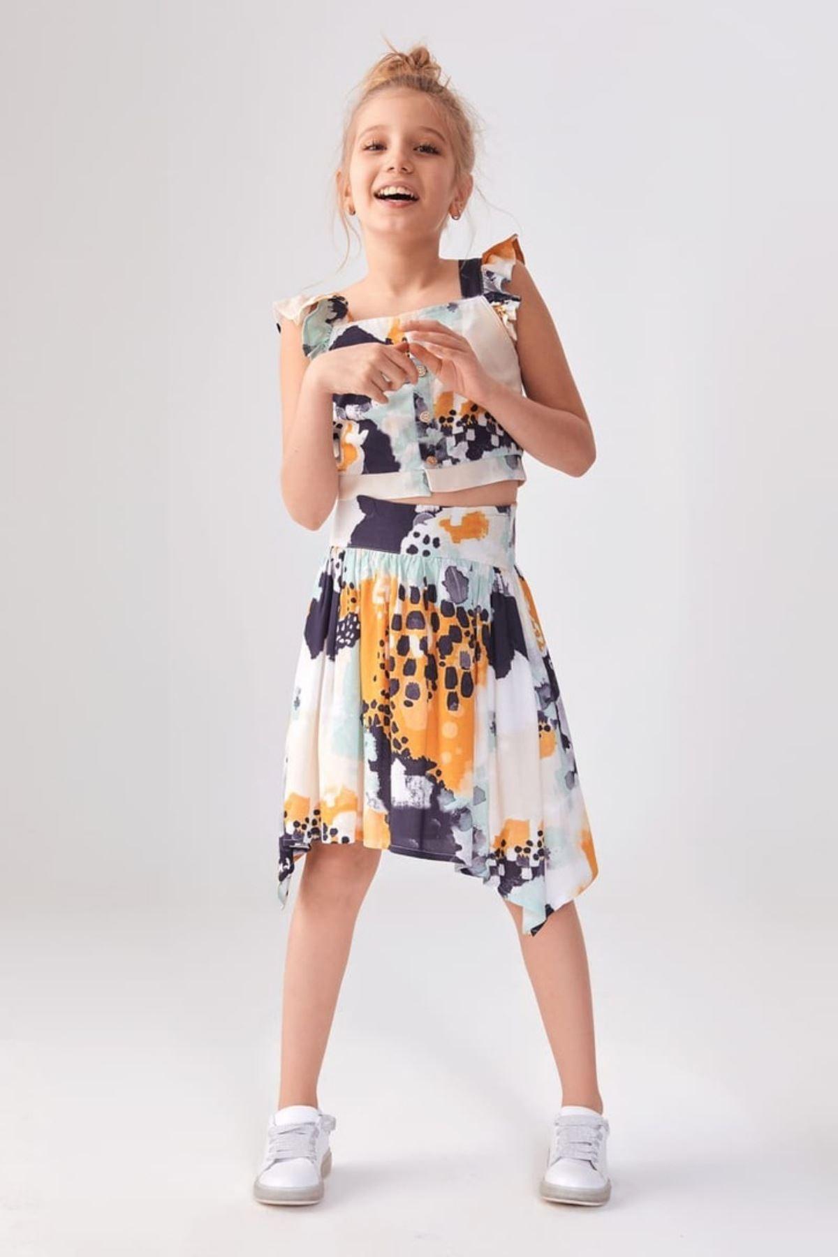 Batik Desen Etekli Kız Çocuk Takım