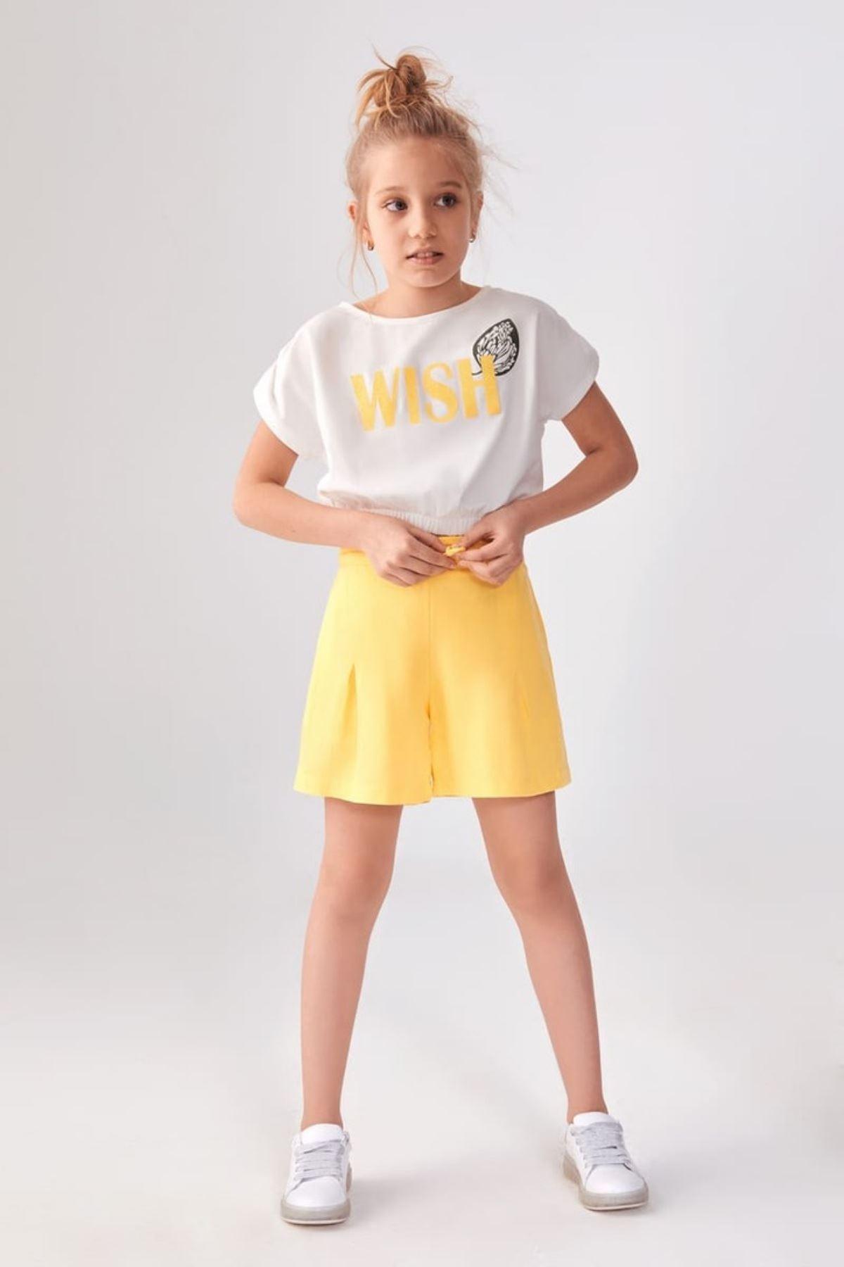 Wish Sarı Şortlu Takım