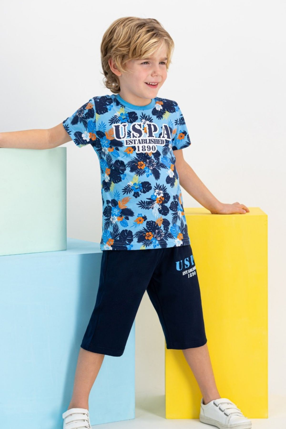 4-7 Yaş Us Polo ASSN Lisanslı Forest Mavi Erkek Çocuk Takım