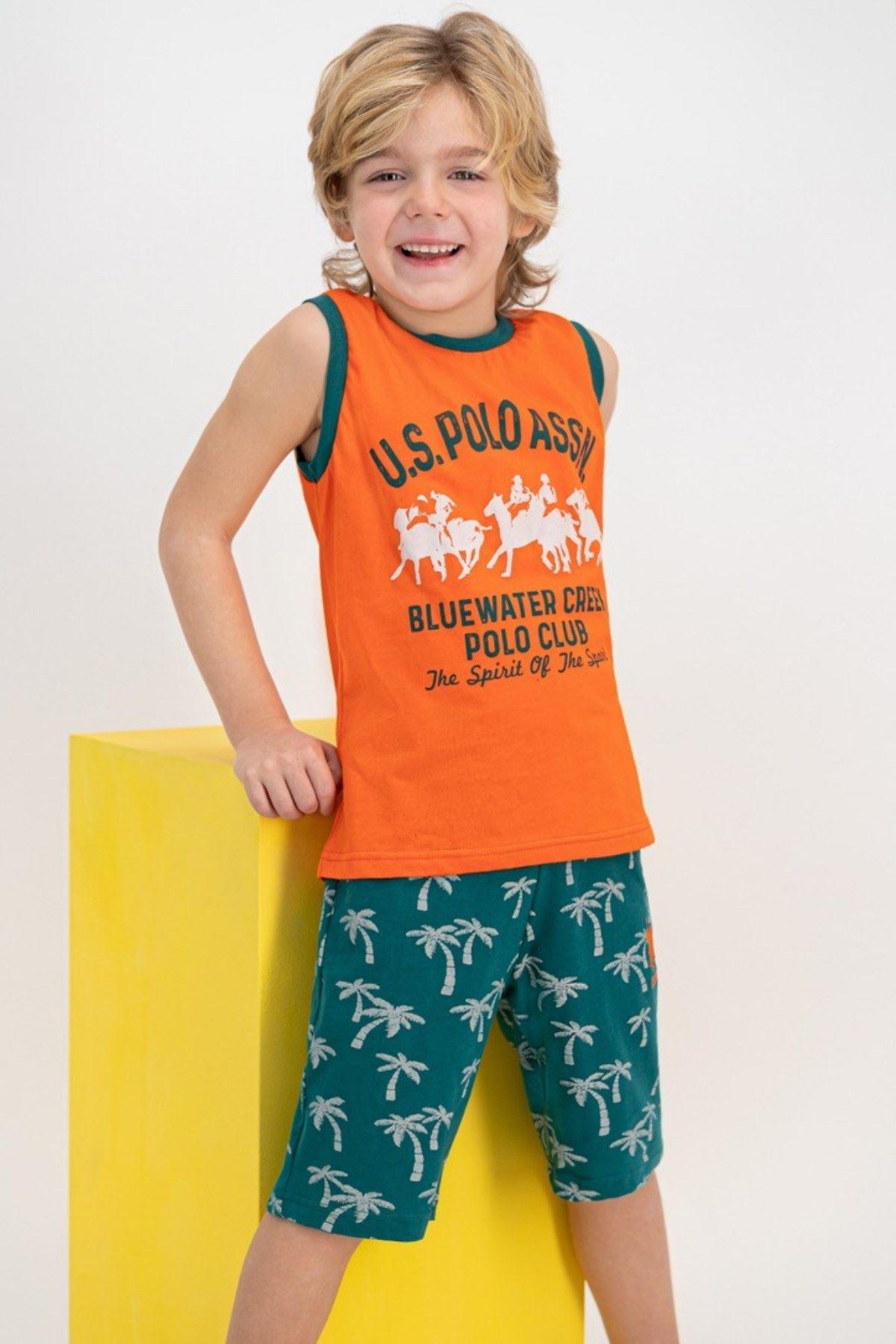 4-7 Yaş Us Polo ASSN Lisanslı Bluewater Turuncu Erkek Çocuk Takım