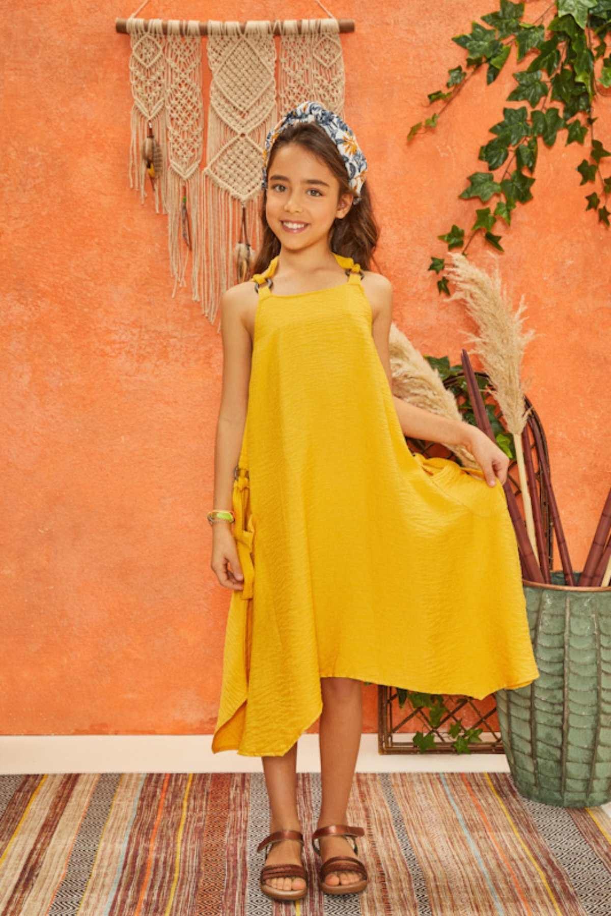 Hardal Sarı Cepli Elbise