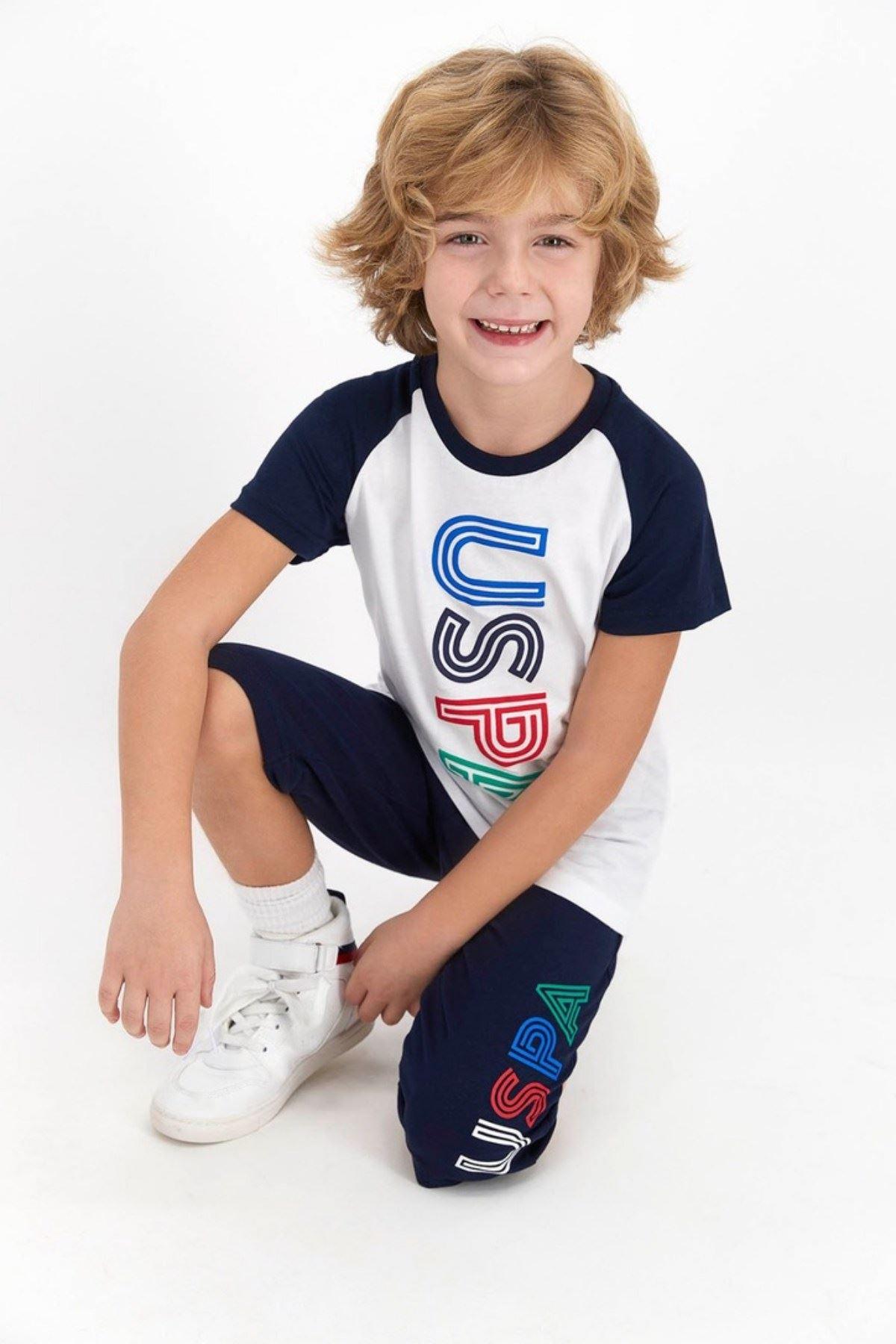 9-15 Yaş Us Polo ASSN Lisanslı Line Beyaz Erkek Çocuk Takım