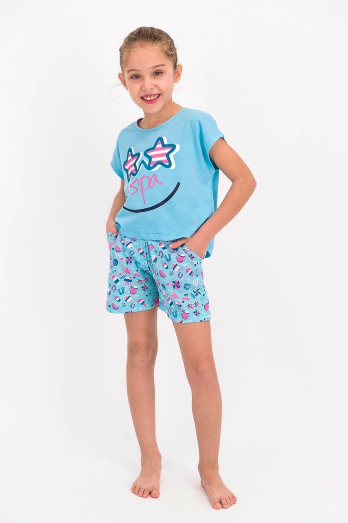 9-15 Yaş Us Polo ASSN Lisanslı Smile Mavi Kız Çocuk Takım