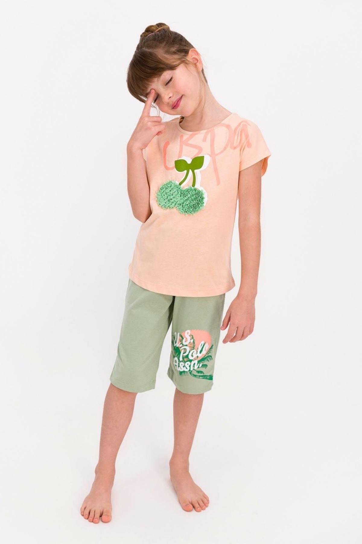 4-8 Yaş Us Polo ASSN Lisanslı Cherry Pudra Kız Çocuk Takım