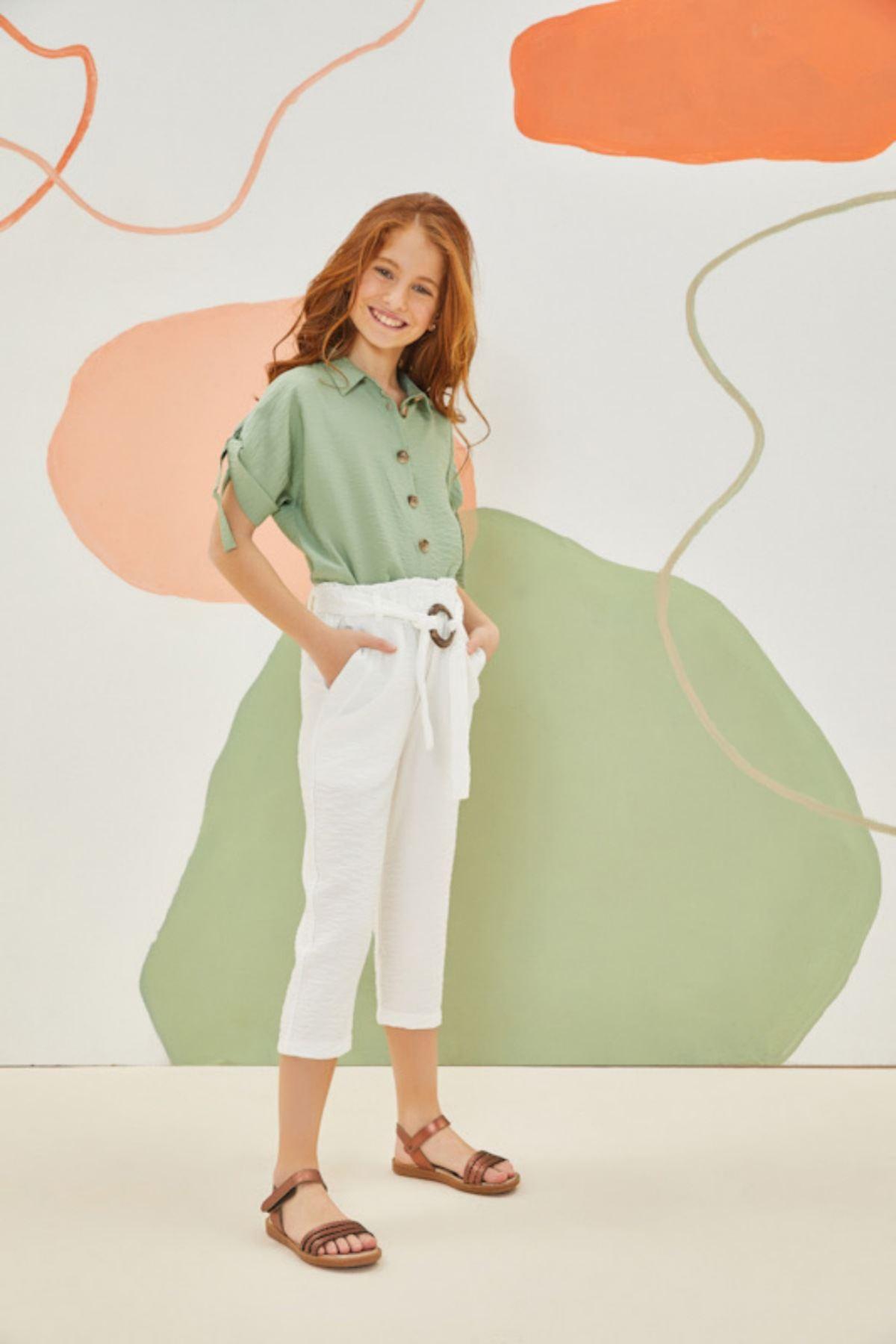 Yeşil Gömlekli Kız Çocuk Takım