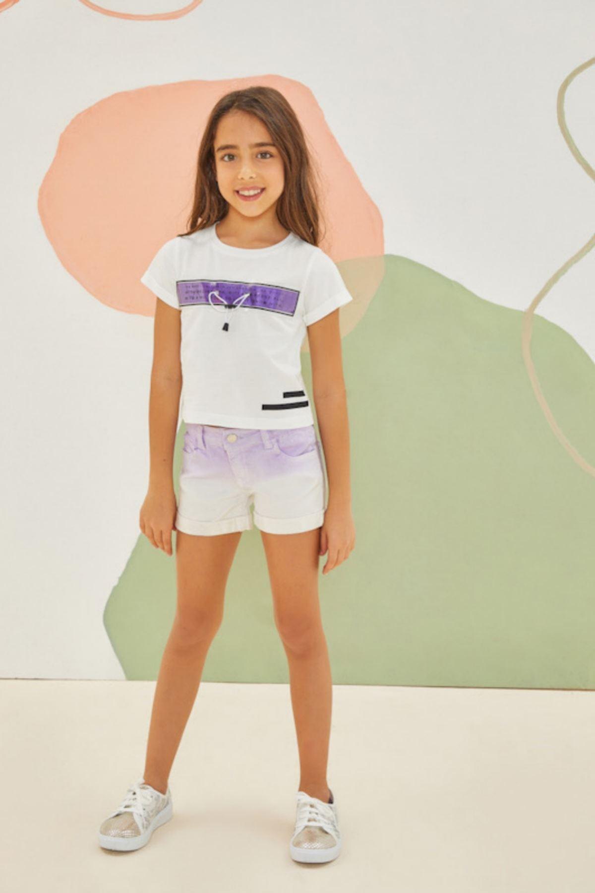 Purple Şortlu Kız Çocuk Takım