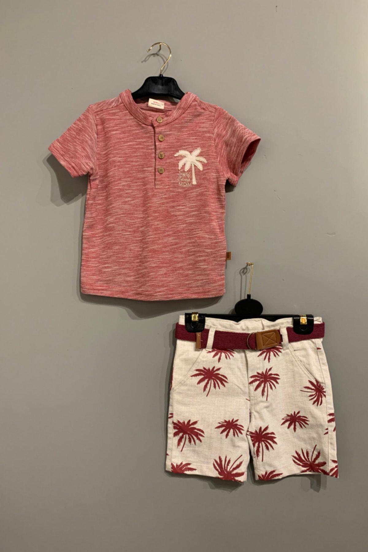 Kırmızı Palmiye Figürlü Kemerli Takım