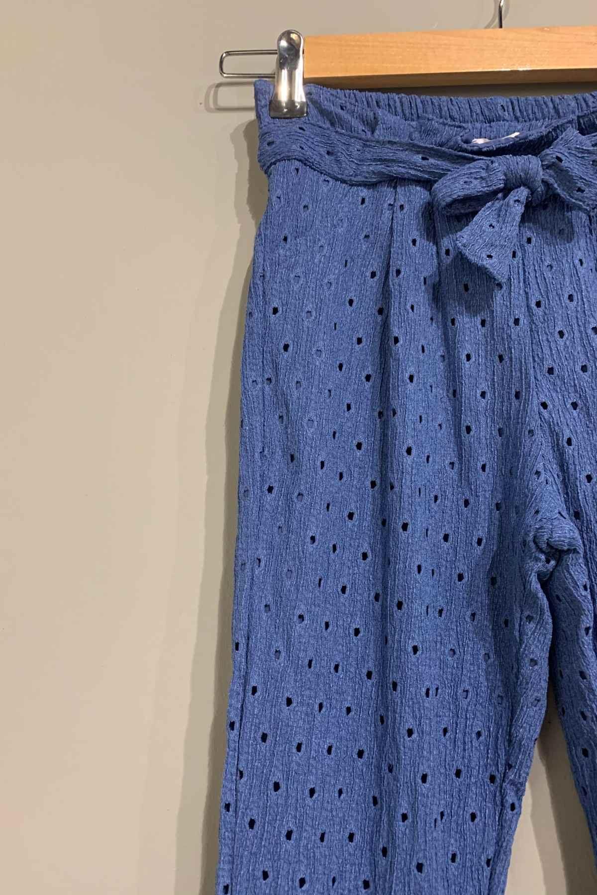 Mavi Fisto Yazlık Kız Çocuk Pantolon