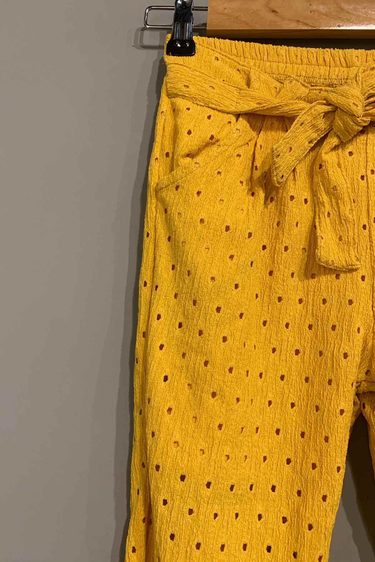 Sarı Fisto Yazlık Kız Çocuk Pantolon