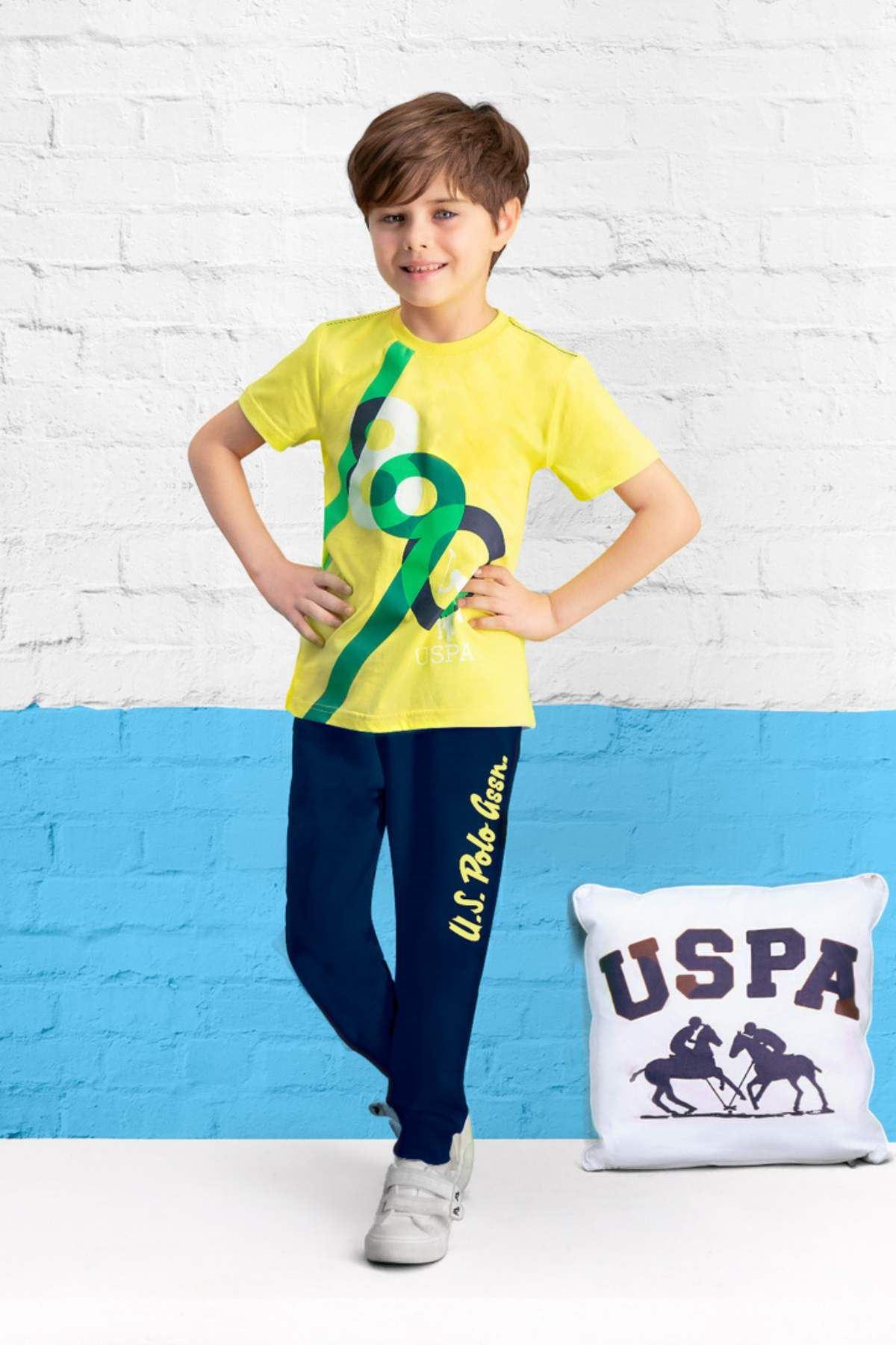 4-7 Yaş Us Polo ASSN Lisanslı 890 Sarı Erkek Çocuk Takım