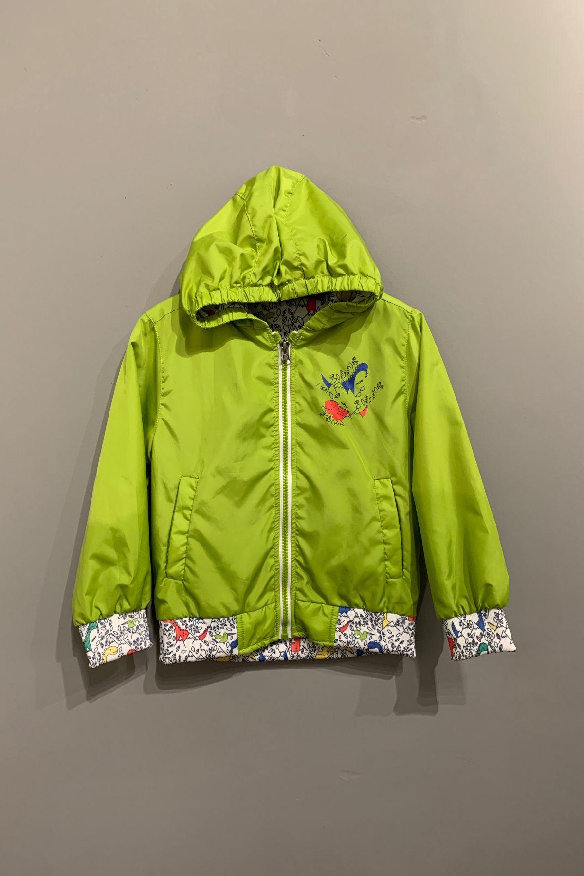 Sevimli Dinazor Figürlü Fıstık Yeşil Yağmurluk