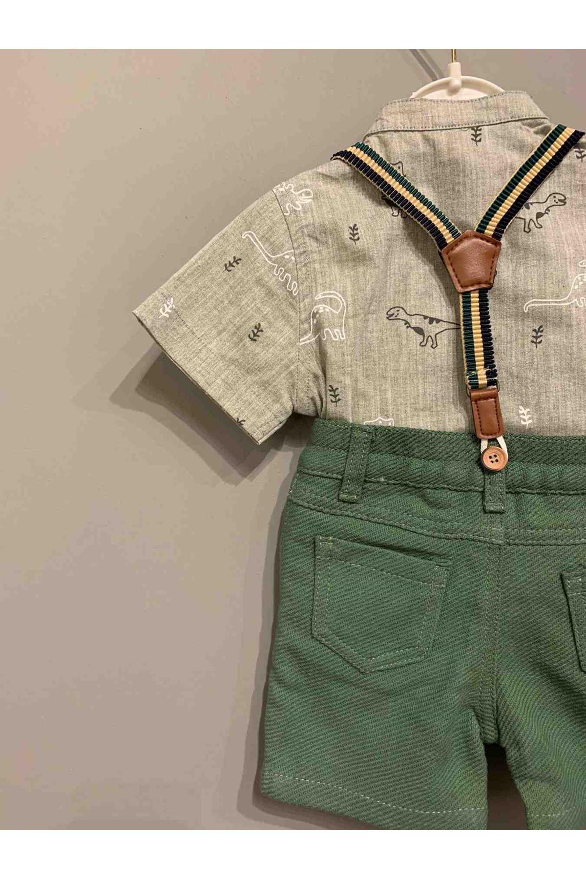 Sevimli Dinazor Figürlü Askılı Takım - Yeşil