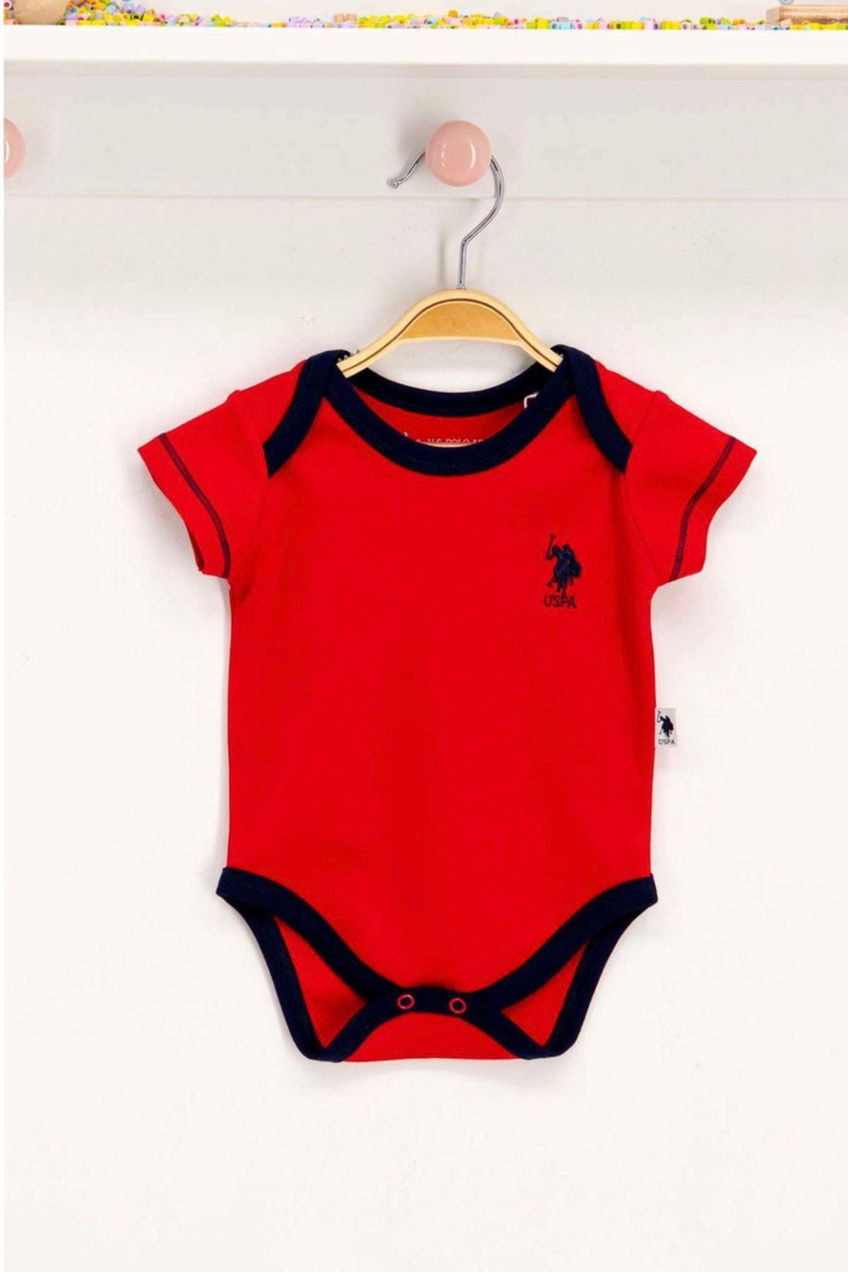 Us Polo Assn Lisanslı Kırmızı Bebek Body Zıbın