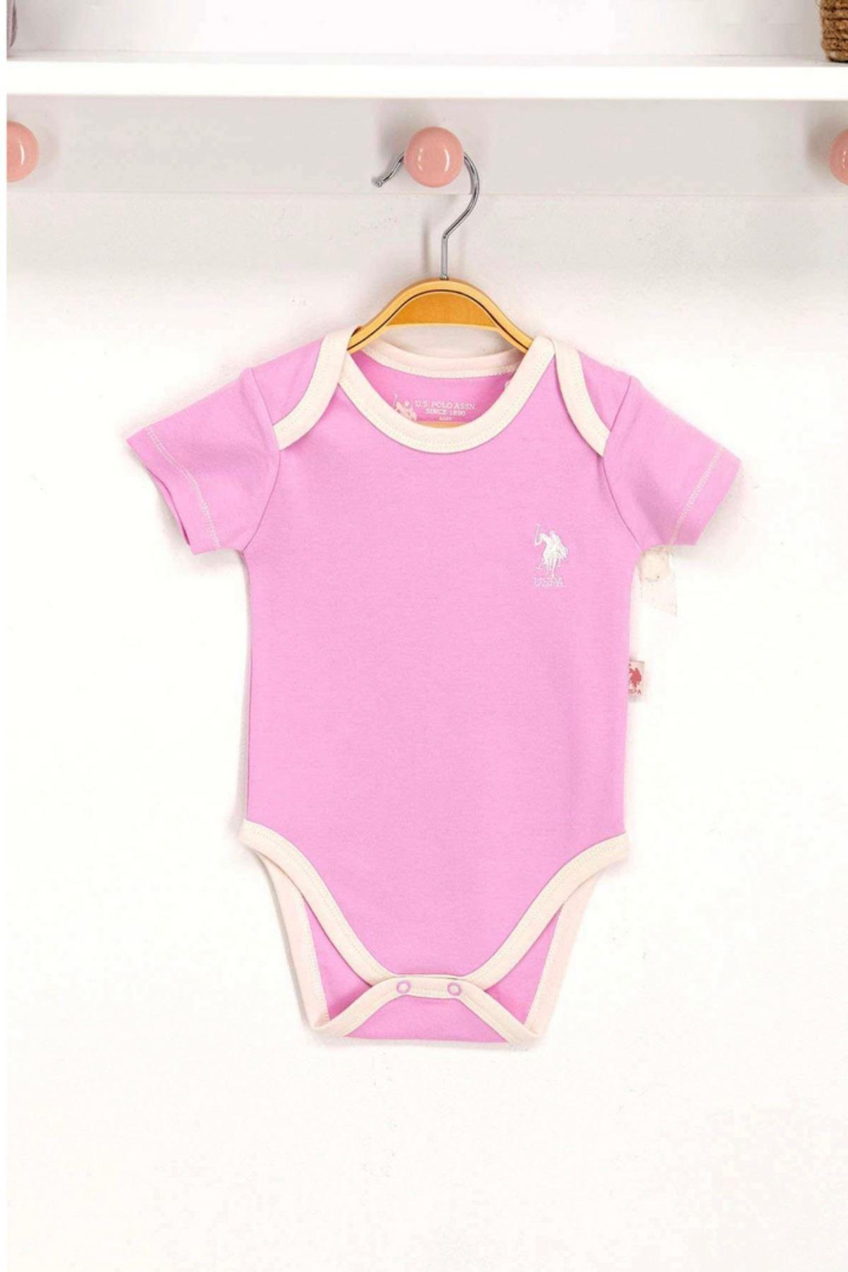 Us Polo Assn Lisanslı Pembe Bebek Body Zıbın