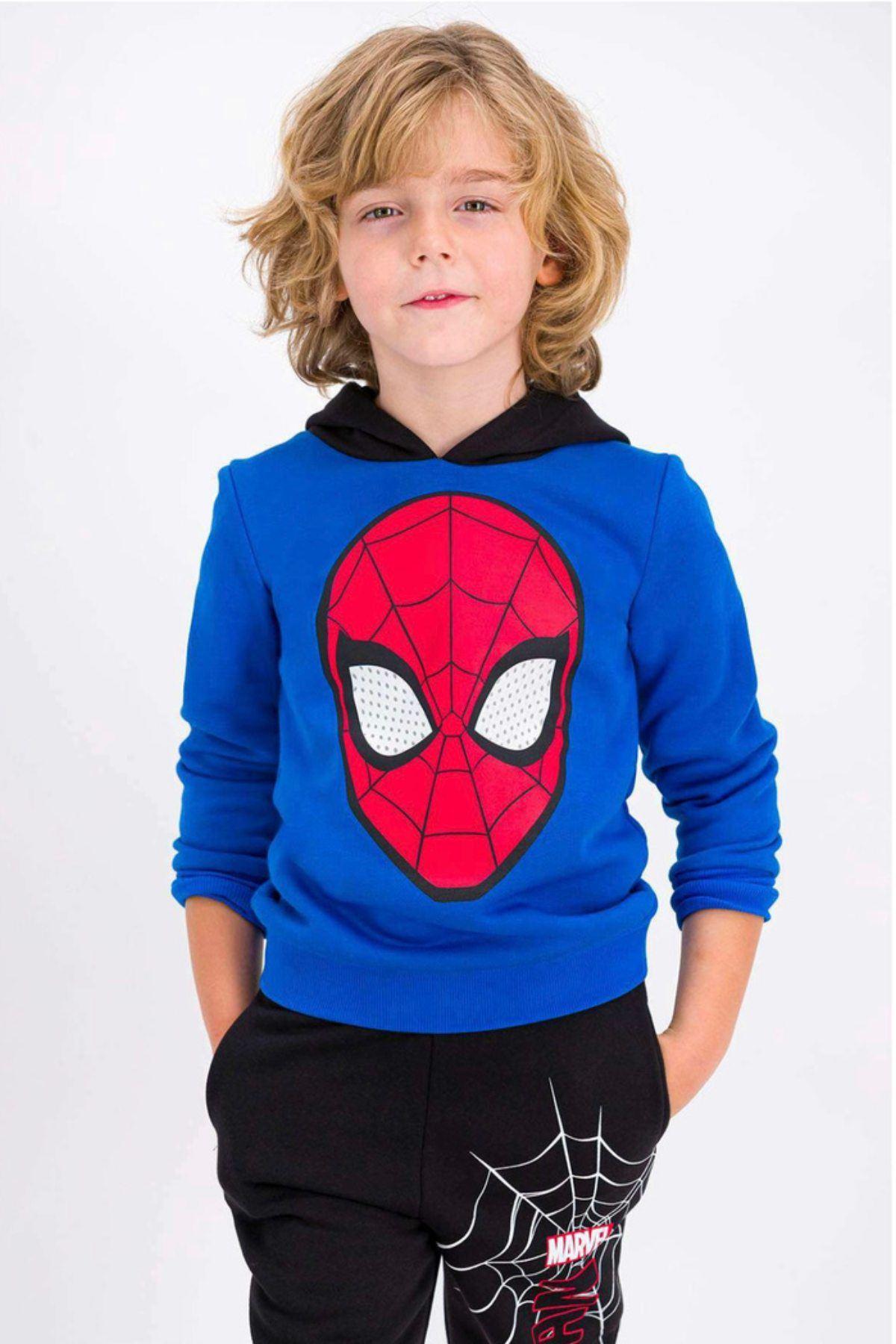 Lisanslı Spiderman Kapüşonlu Takım