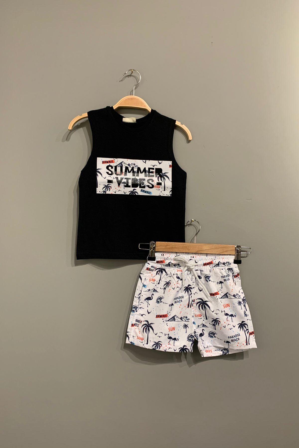 Summer Deniz Şortlu Takım - Siyah