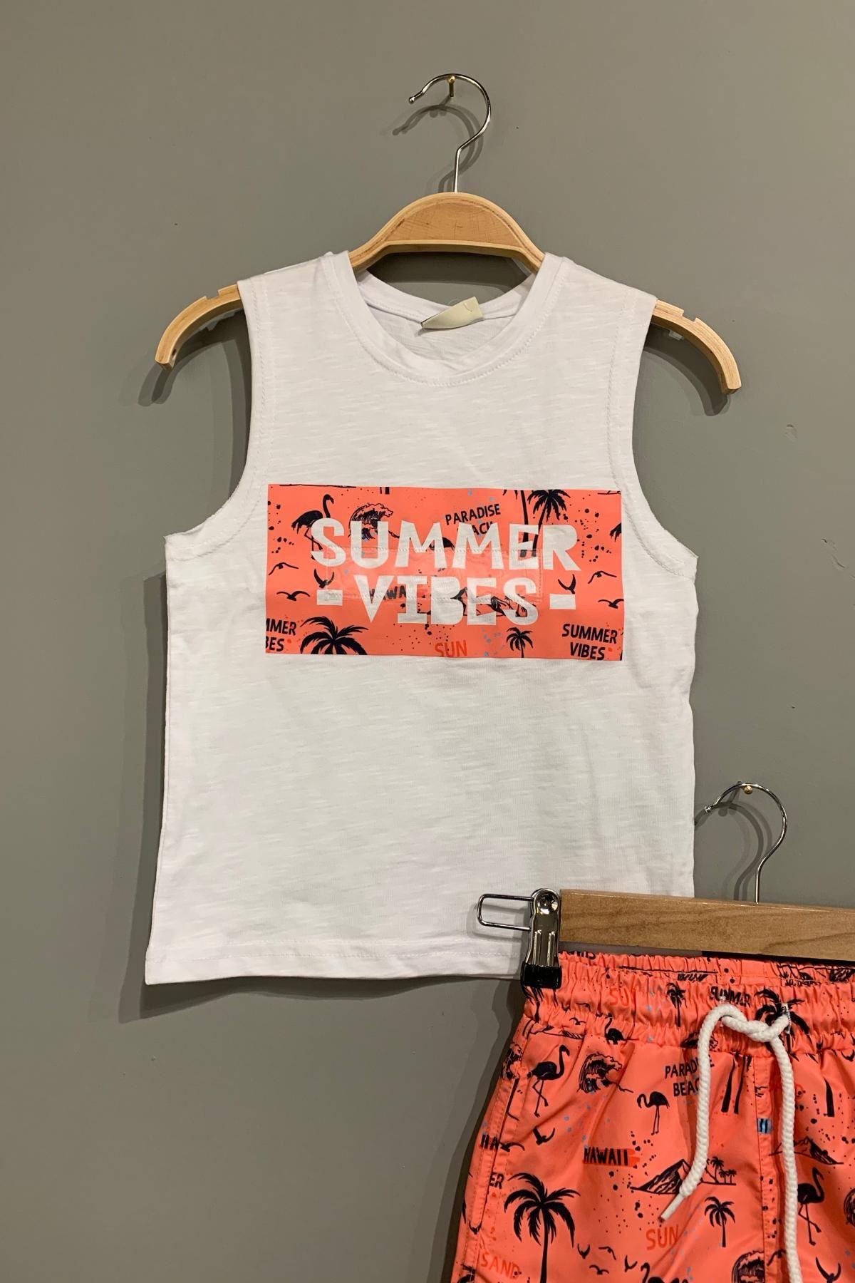 Summer Deniz Şortlu Takım - Beyaz