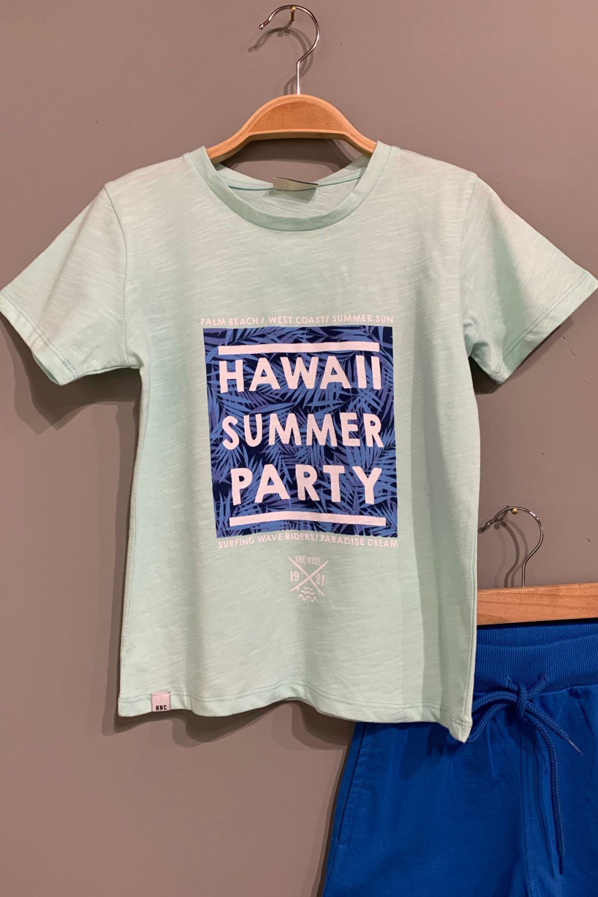 6-16 Yaş Hawaii Baskılı Erkek Çocuk Takım - Mint Yeşil