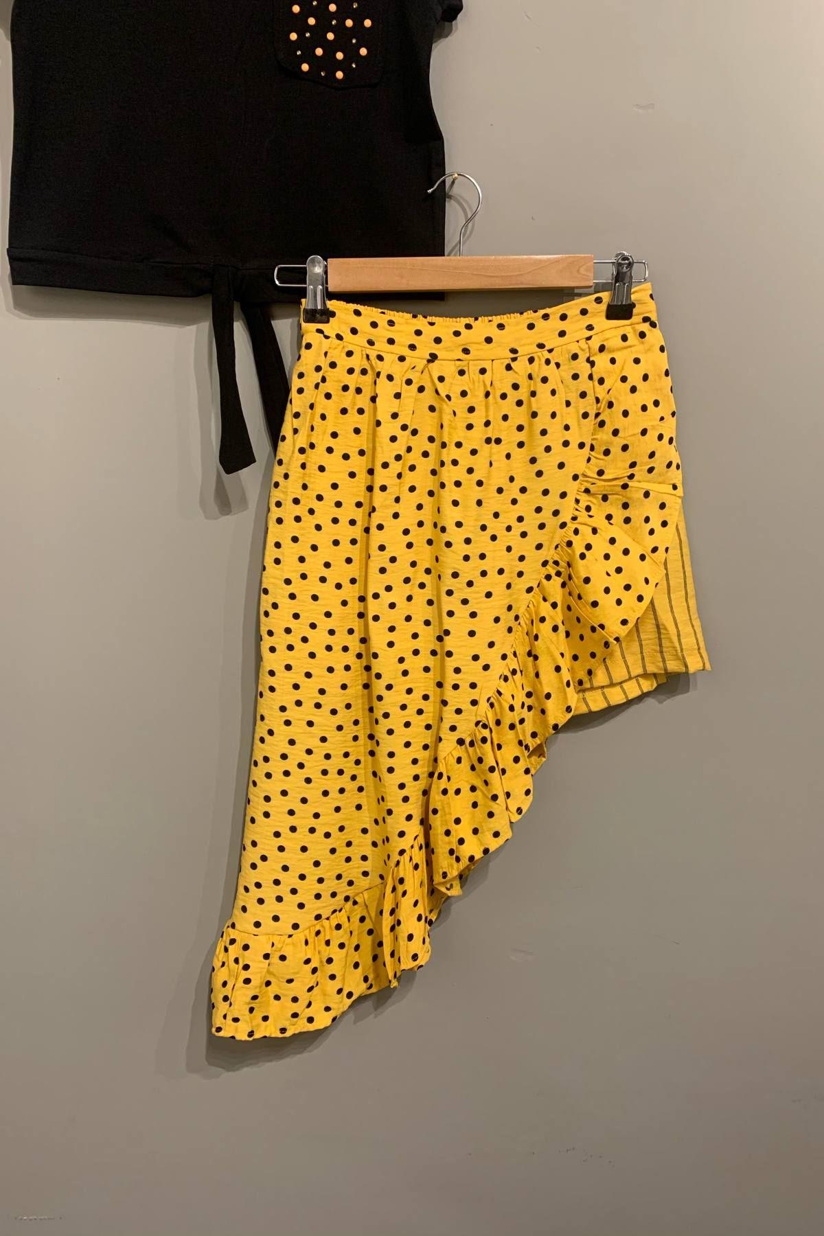Puantiyeli Kız Çocuk Takım -  Sarı