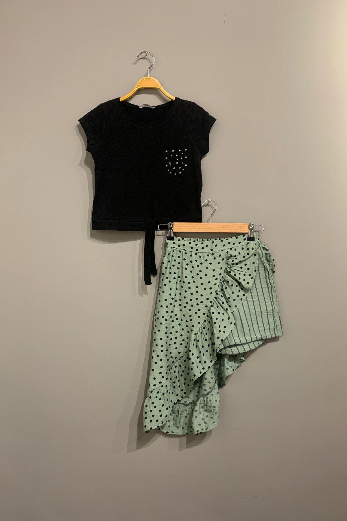 Puantiyeli Kız Çocuk Takım - Yeşil