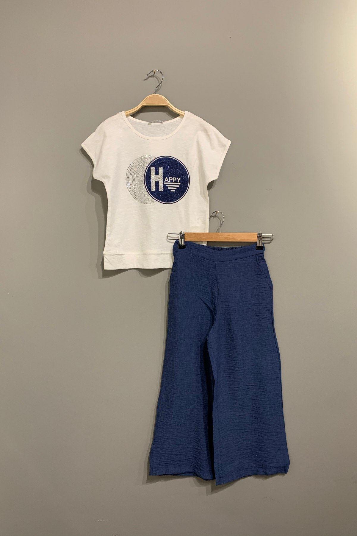 Happy Yazlık Kız Çocuk Takım - Mavi