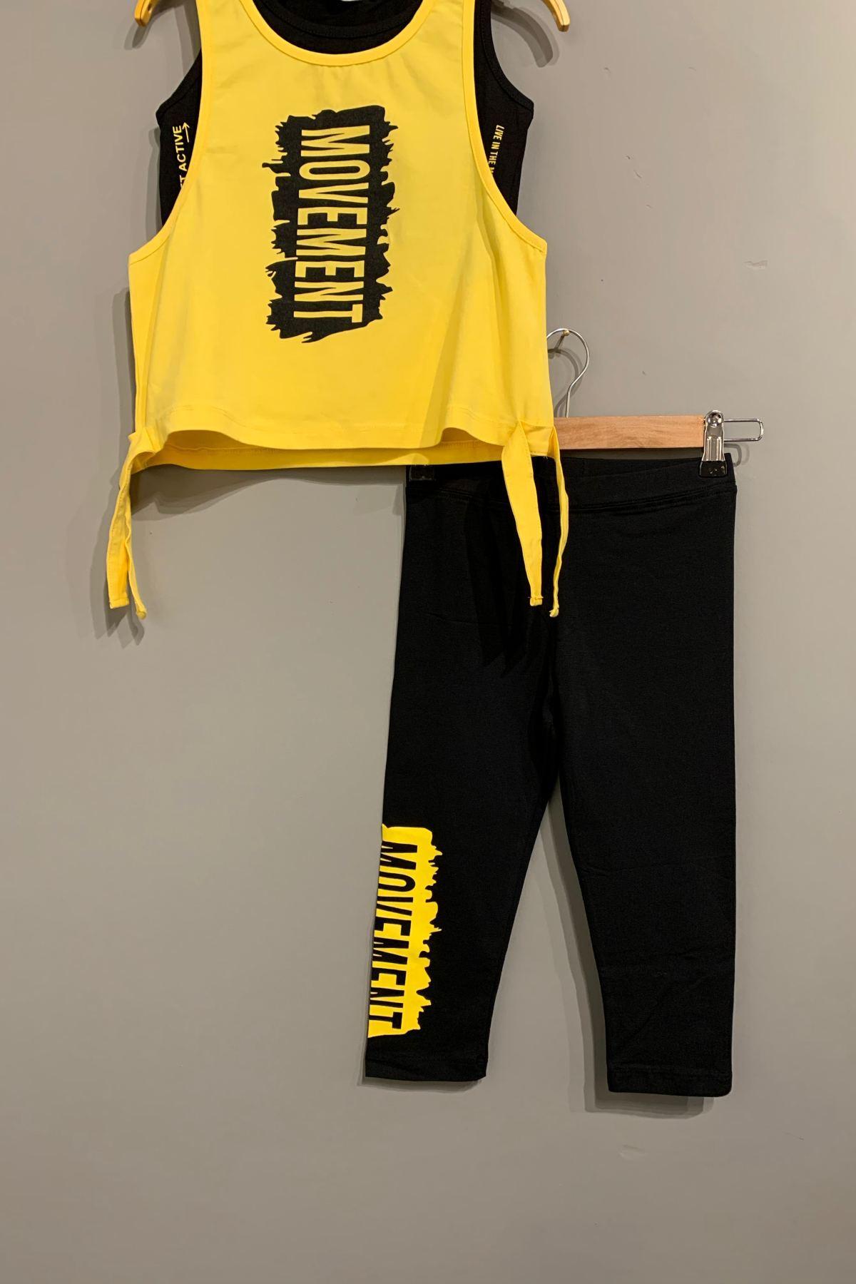 Sarı 3' Lü Sporcu Penye Tayt Takım