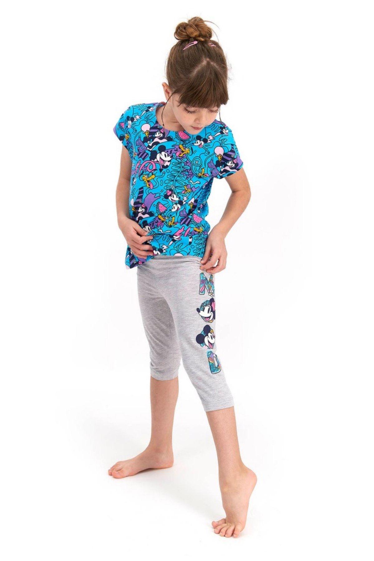 Mickey Mouse Taytlı  Kız Çocuk Takım - Mavi
