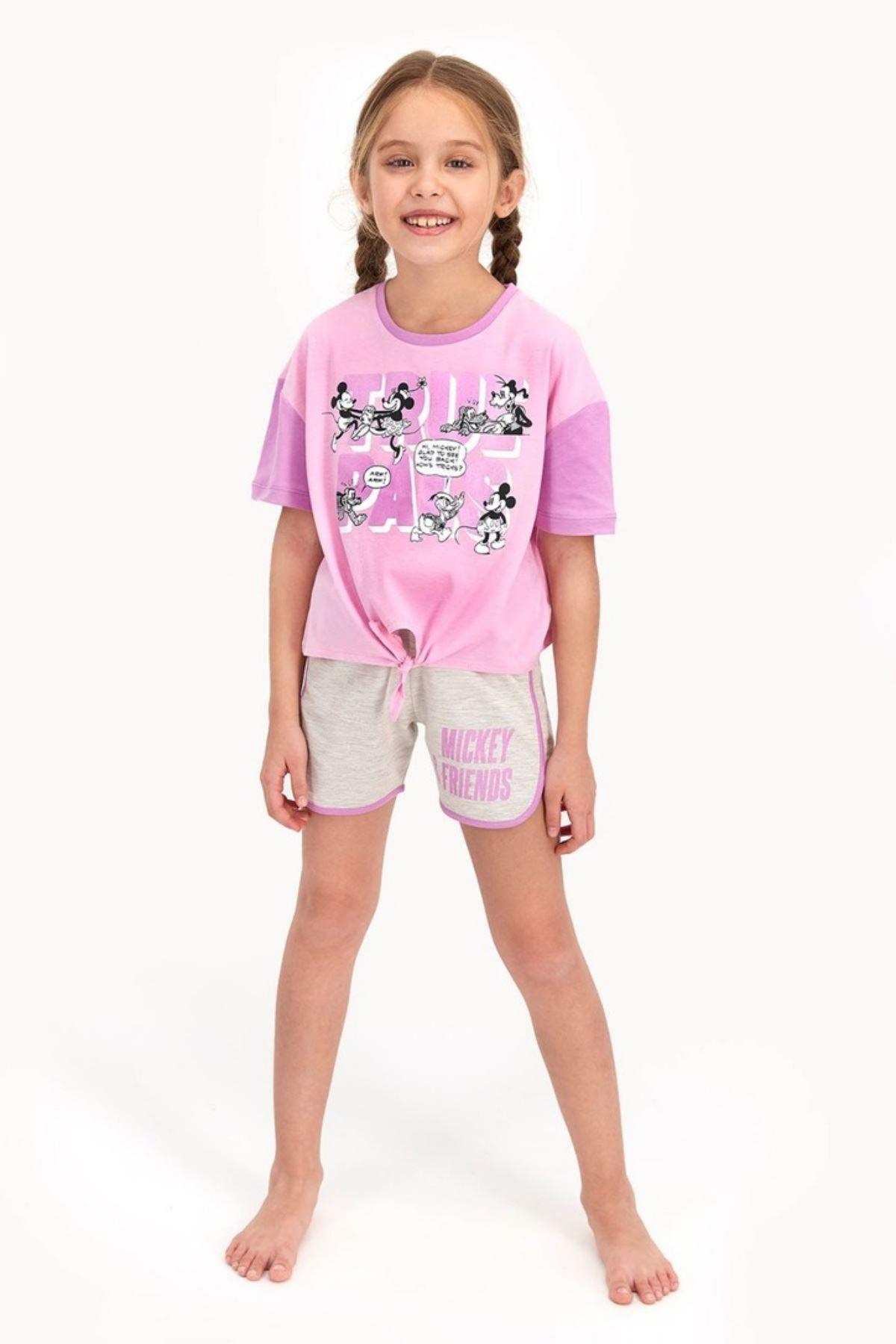 Mickey Mouse Şortlu  Kız Çocuk Takım - Toz Pembe