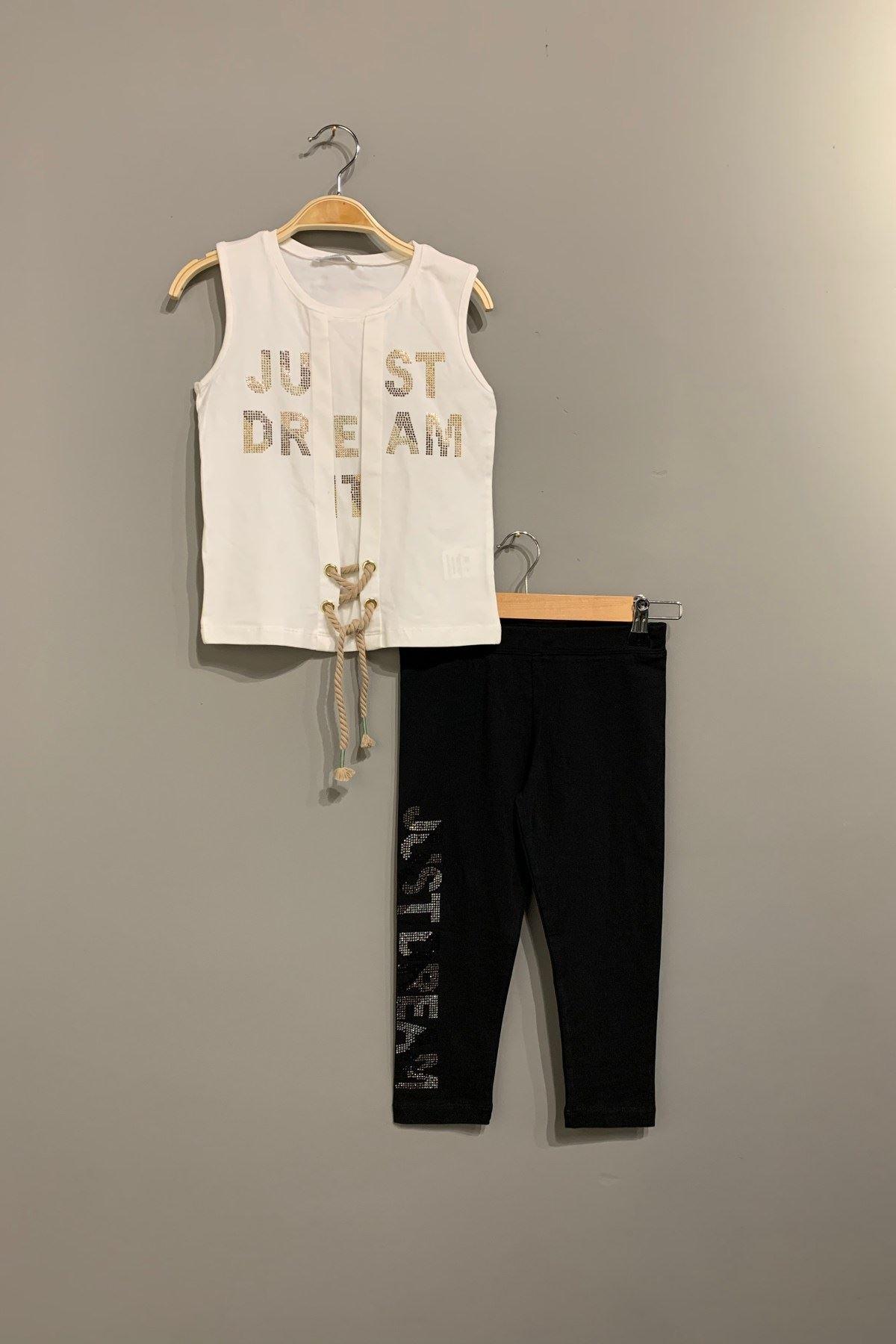 Just Dream Taytlı Kız Çocuk Takım - Beyaz