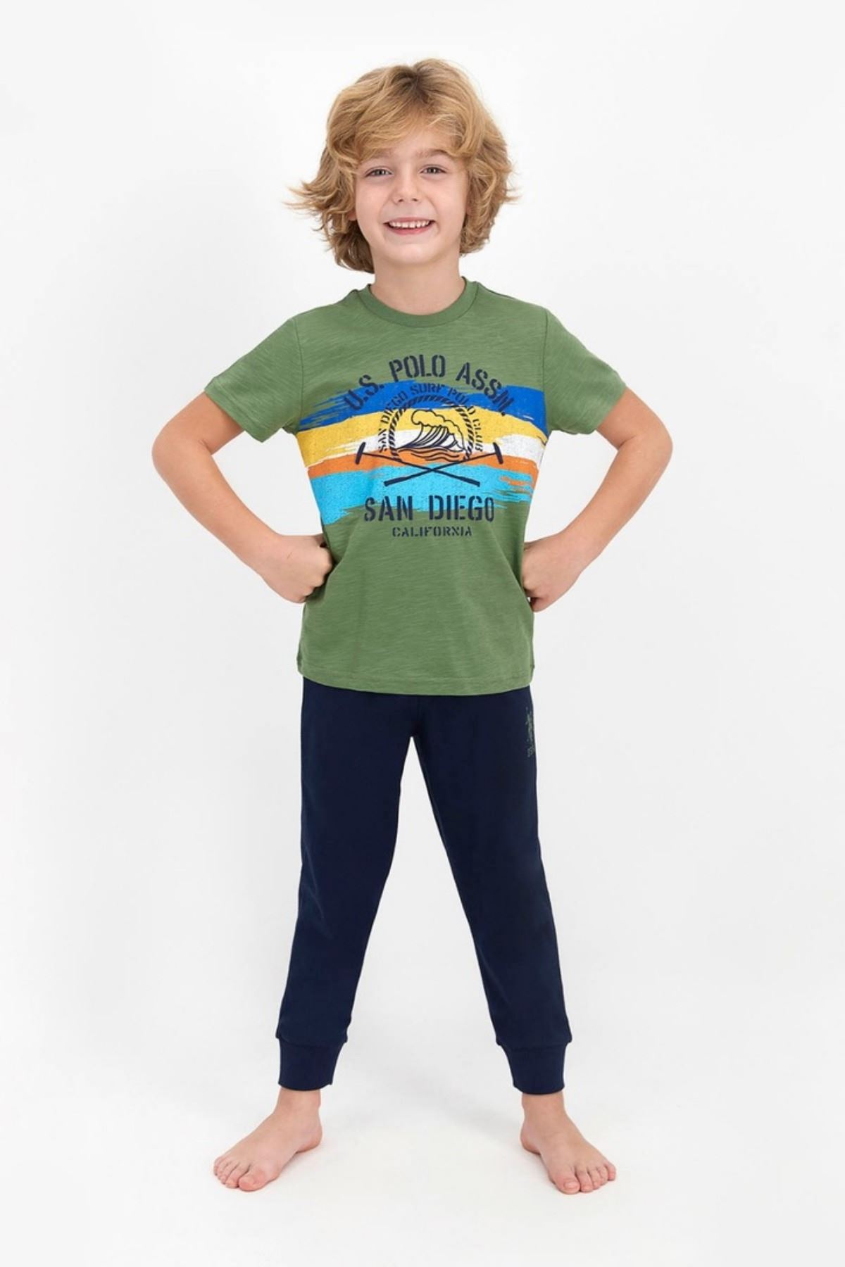 4-8 Yaş Us Polo ASSN Lisanslı California Yeşil Erkek Çocuk Takım