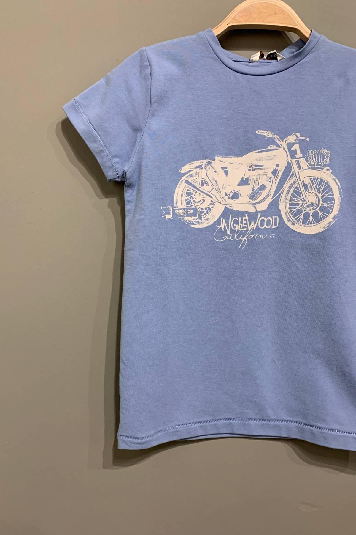 Motorsiklet Baskılı Erkek Çocuk T-Shırt