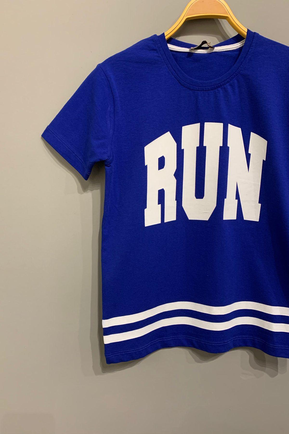 Run Baskılı Saksın Mavisi T-shırt