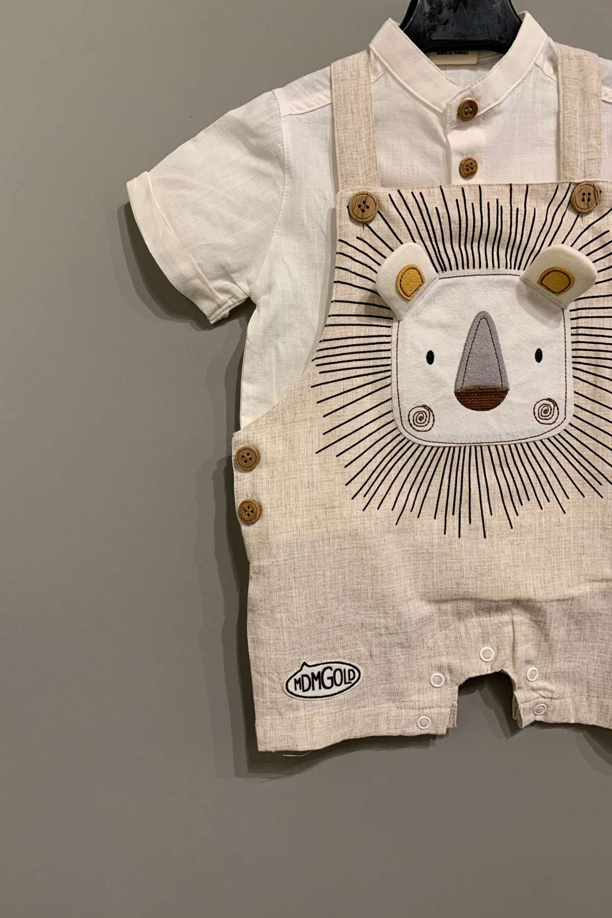 Salopet  Erkek  Bebek Takım - Bej