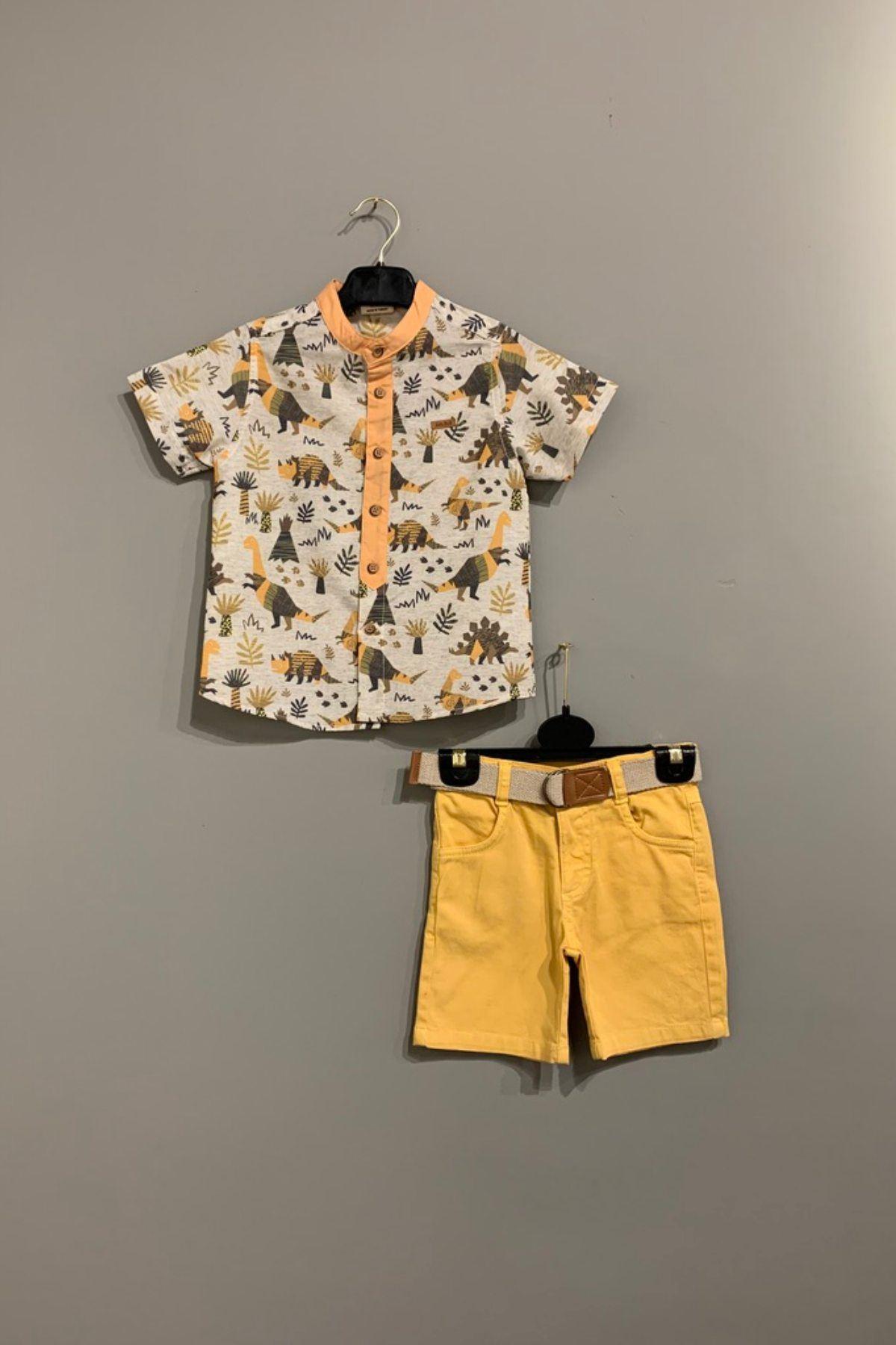 Sevimli Dinazor Figürlü Gömlek Takım - Hardal