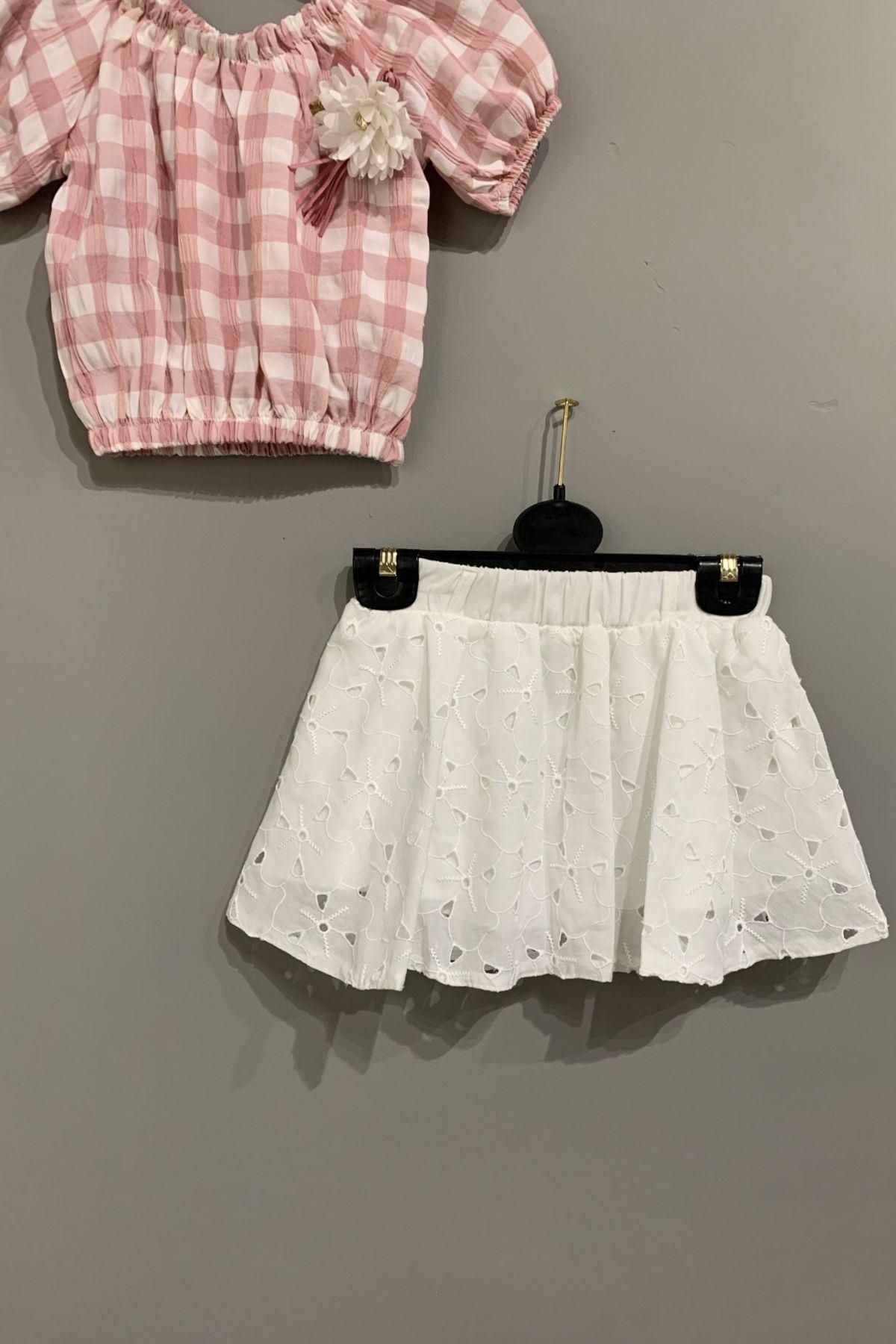 Ekose Bluzlu Etekli Kız Çocuk Takım