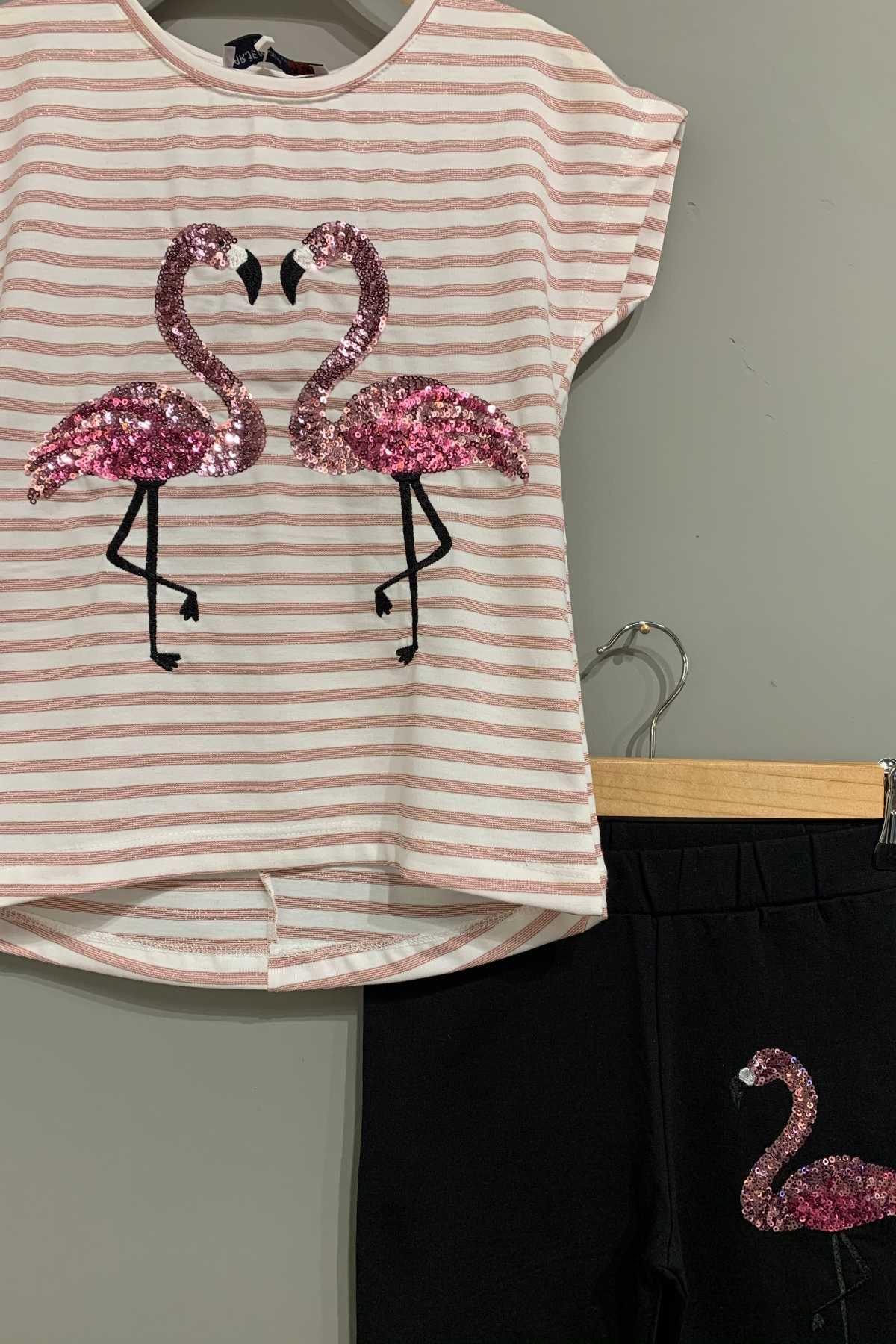 3-14 Yaş Flamingo Desenli Kız Çocuk Takım