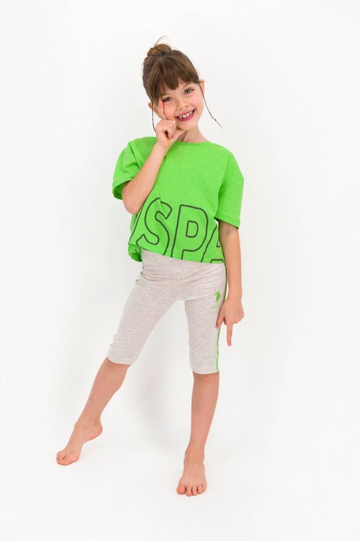 4-8 Yaş Us Polo ASSN Lisanslı Yeşil Kız Çocuk Takım