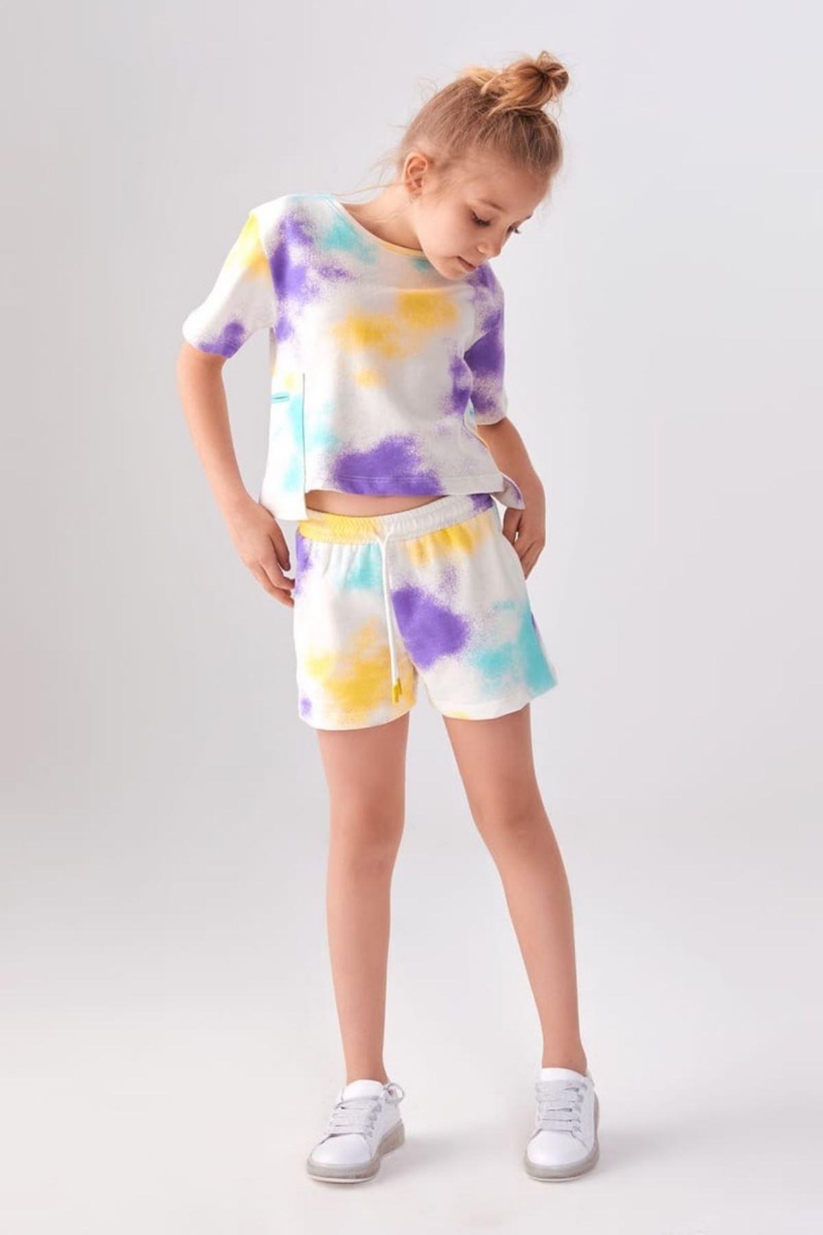 Batik Şortlu Kız Çocuk Takım